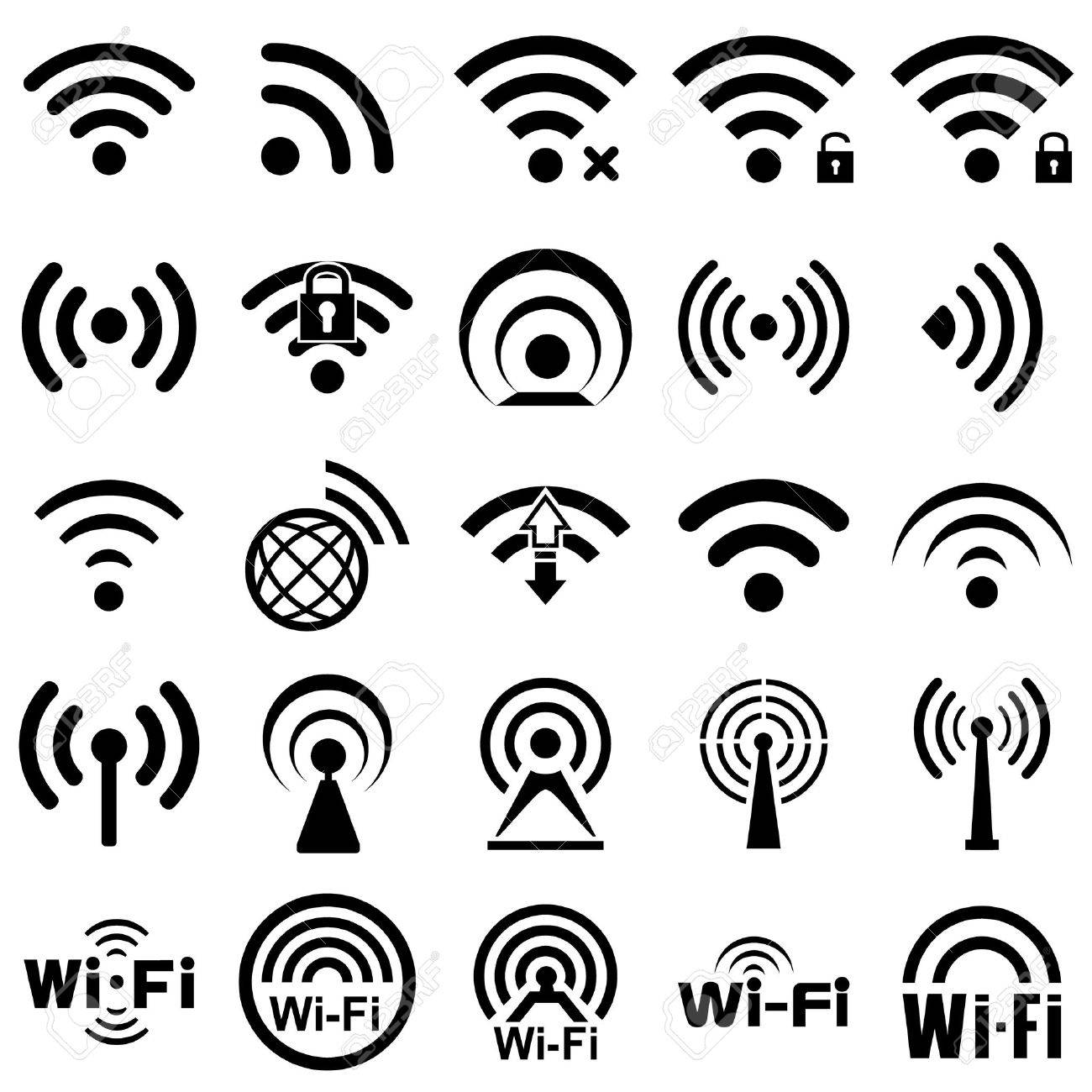 Set of twenty five different black wireless and wifi icons for remote access and communication via radio waves - 53442548