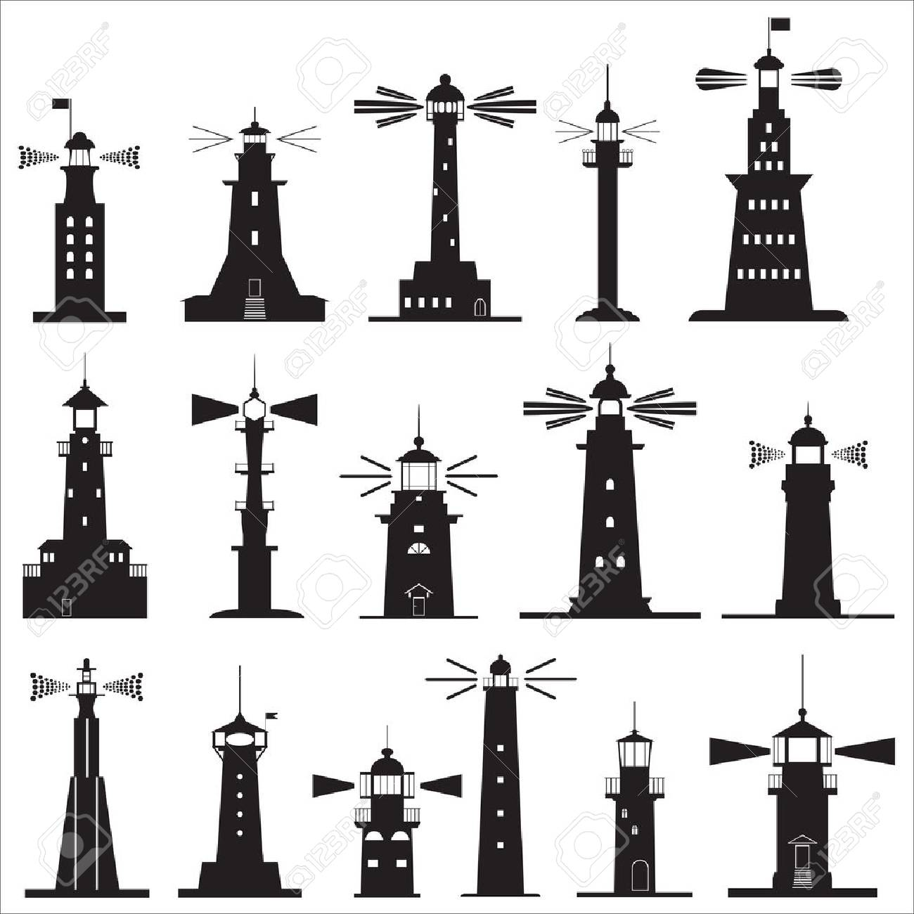 Set Icons of Lighthouses. Vector illustration - 57839223