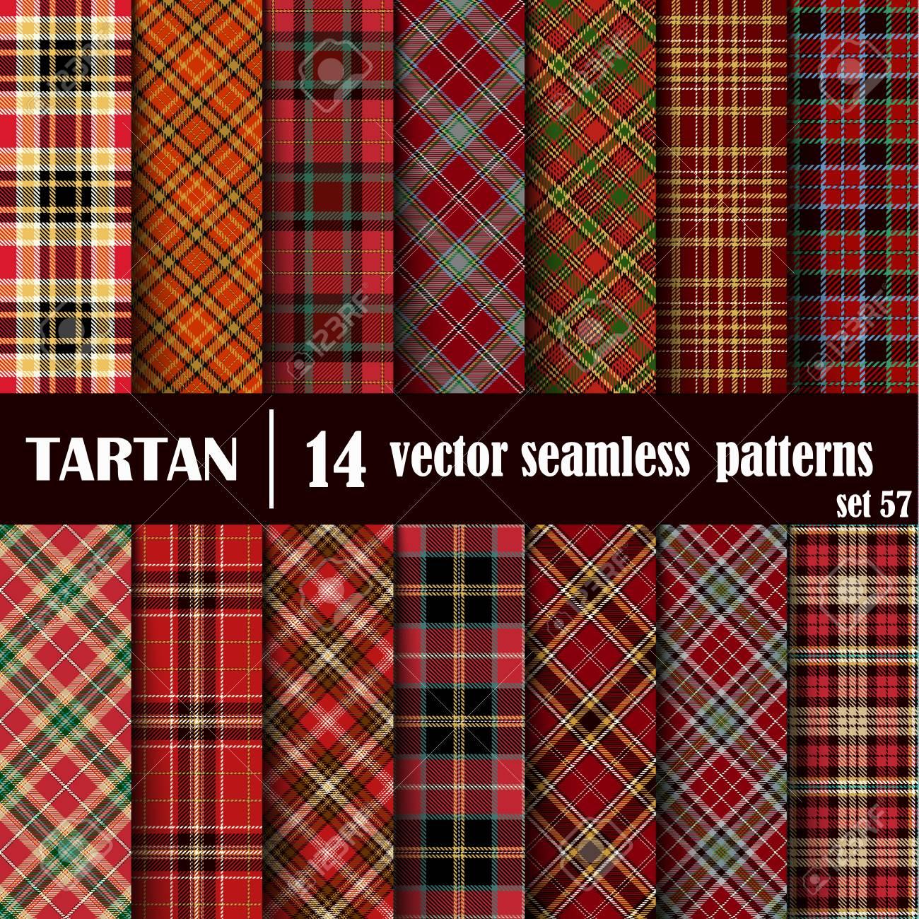 Set Tartan Nahtlose Muster. Trendy Vector Illustration Für Tapeten.  Nahtlose Tartan Fliesen. Traditionelle