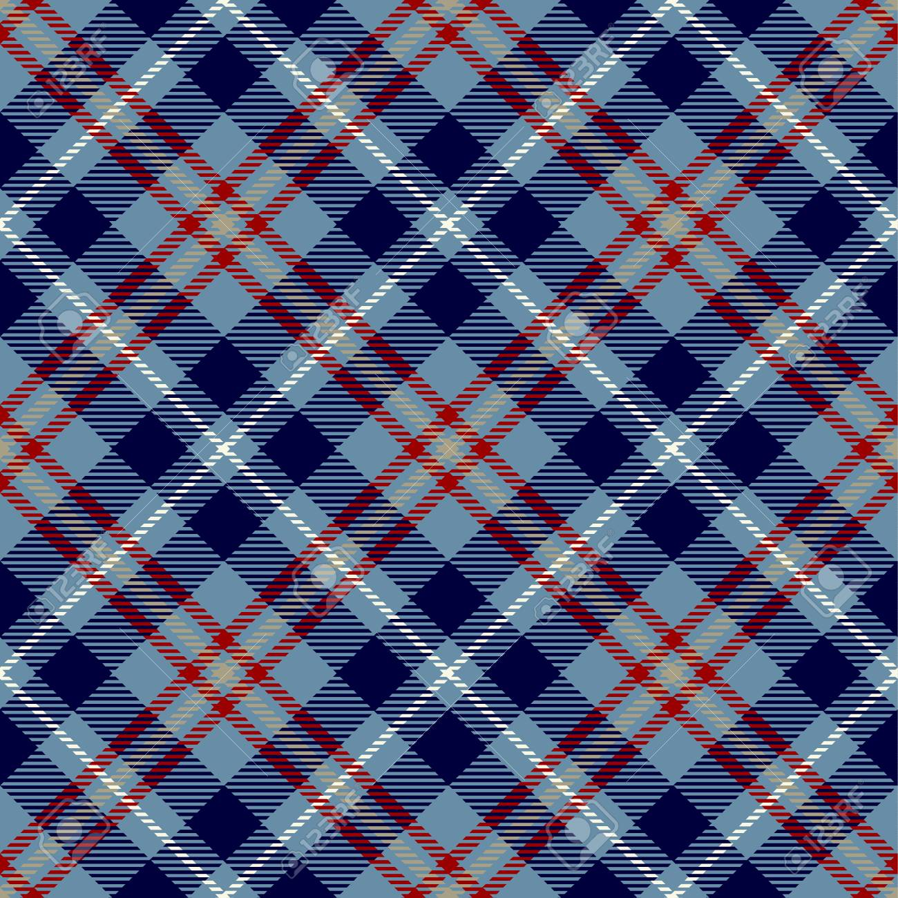 Tartan Seamless Pattern Background Red White Blue And Camel Beige Plaid