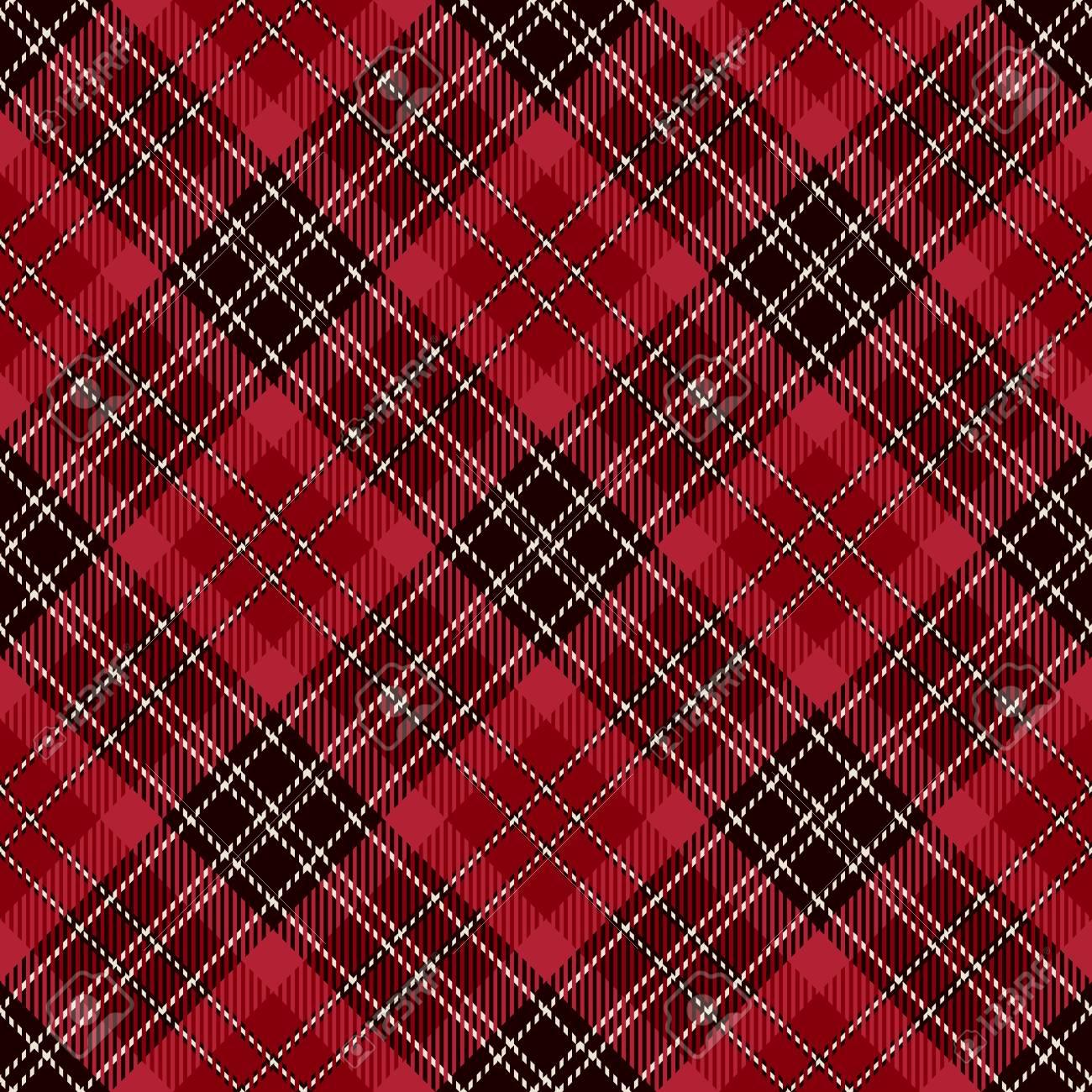 Tartan Seamless Pattern Background Red Black And White Plaid