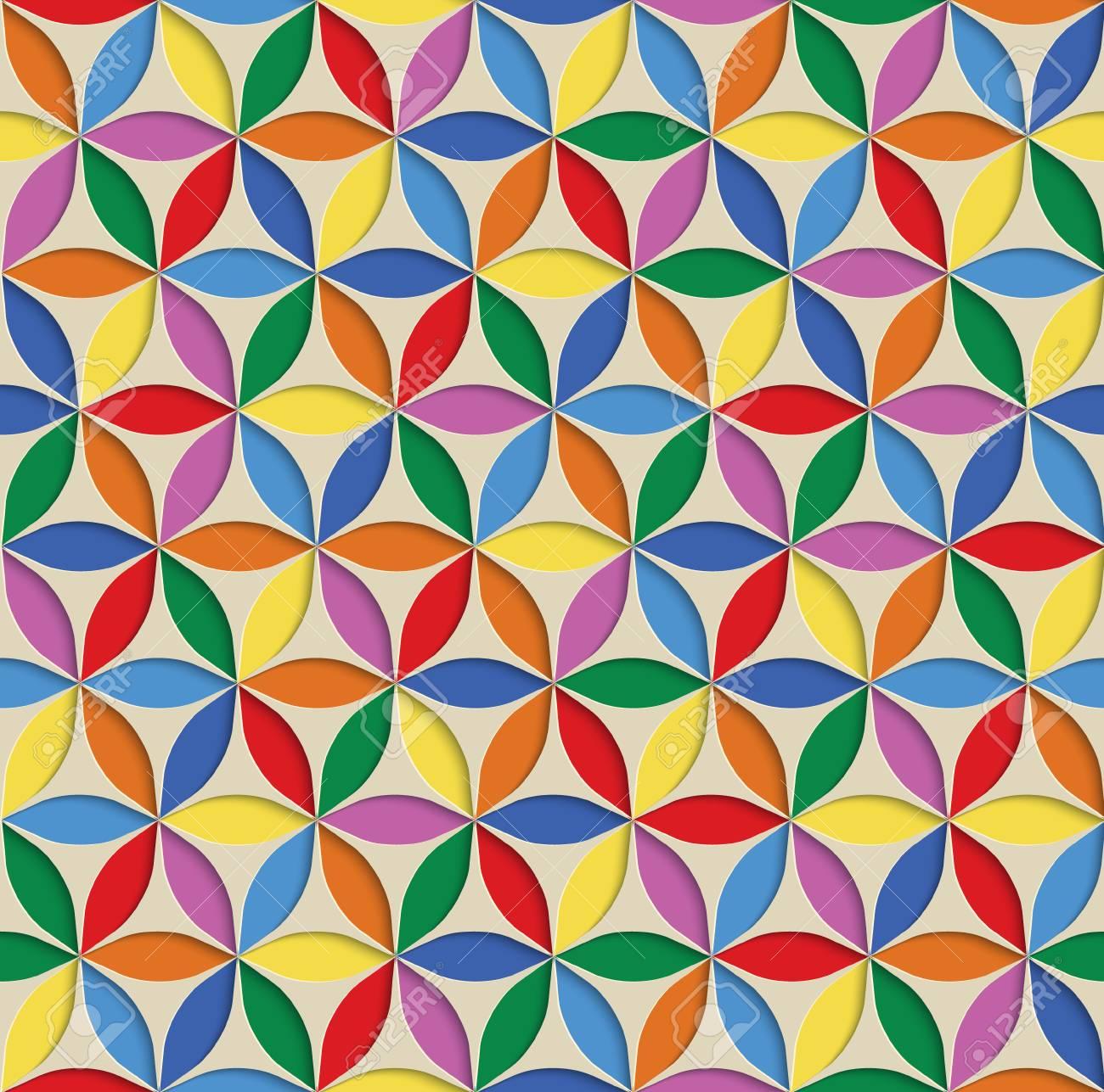 3 D のシームレスな抽象的な幾何学模様 虹のタイル表面 フレームの