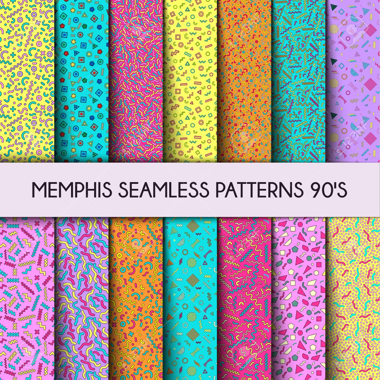 Collection of Vector Seamless Pattern  Fashion 80s, 90s  Color