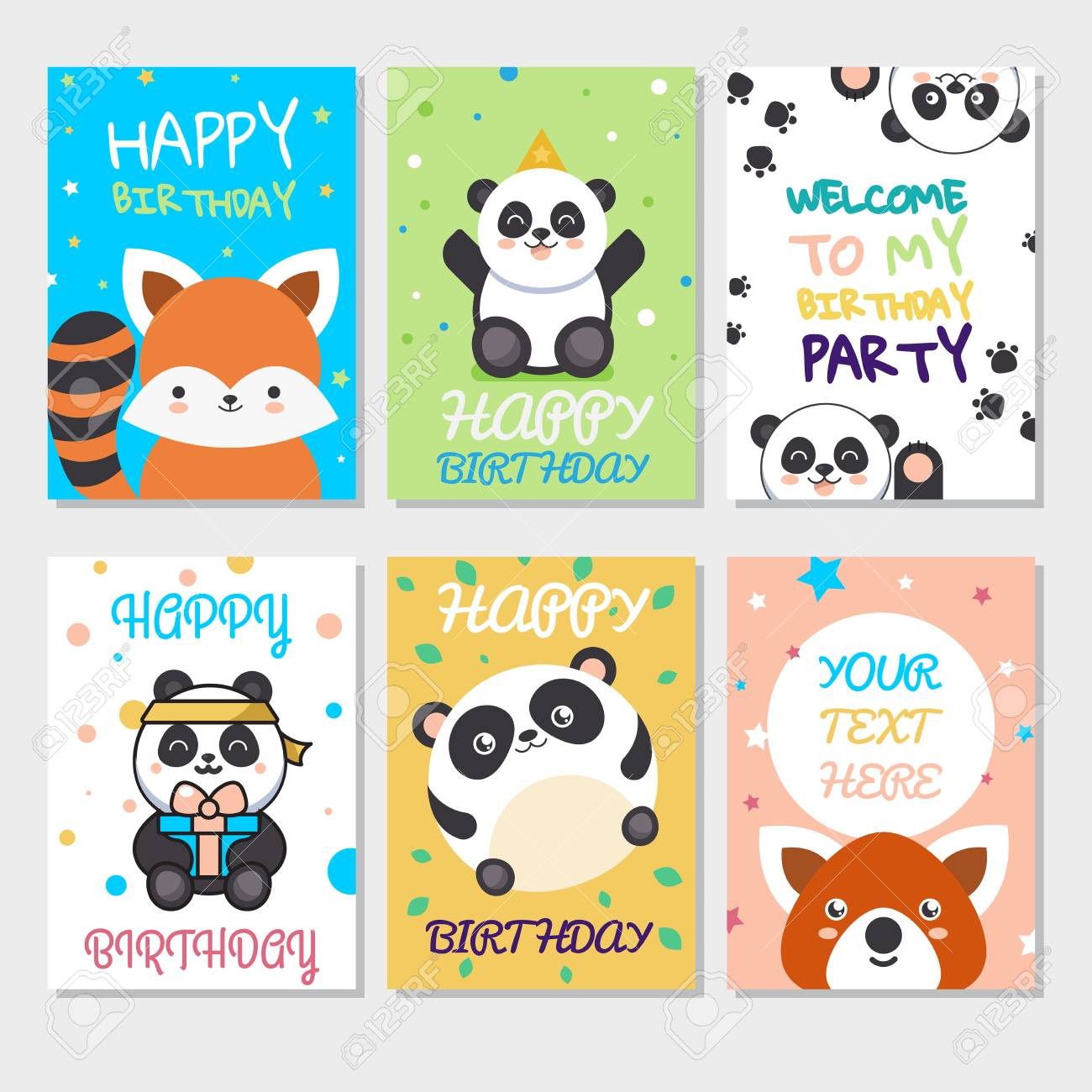 Set Of Cute Animals Poster Cute Happy Birthday Greeting Card