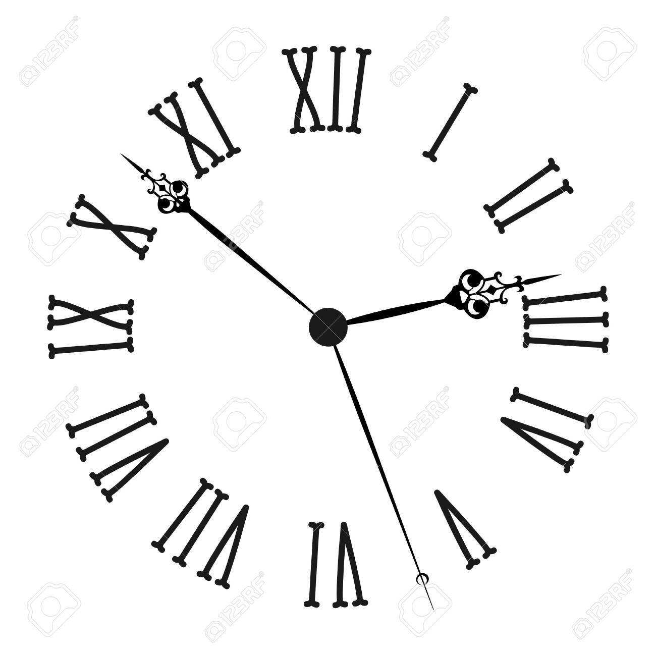Vintage clock with roman numerals Old fashion isolated on white background. Vector illustration - 151457706