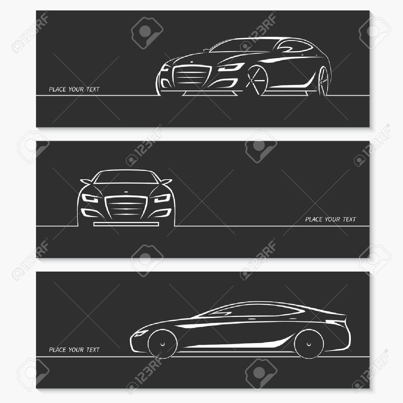 conjunto de siluetas de coches modernos foto de archivo