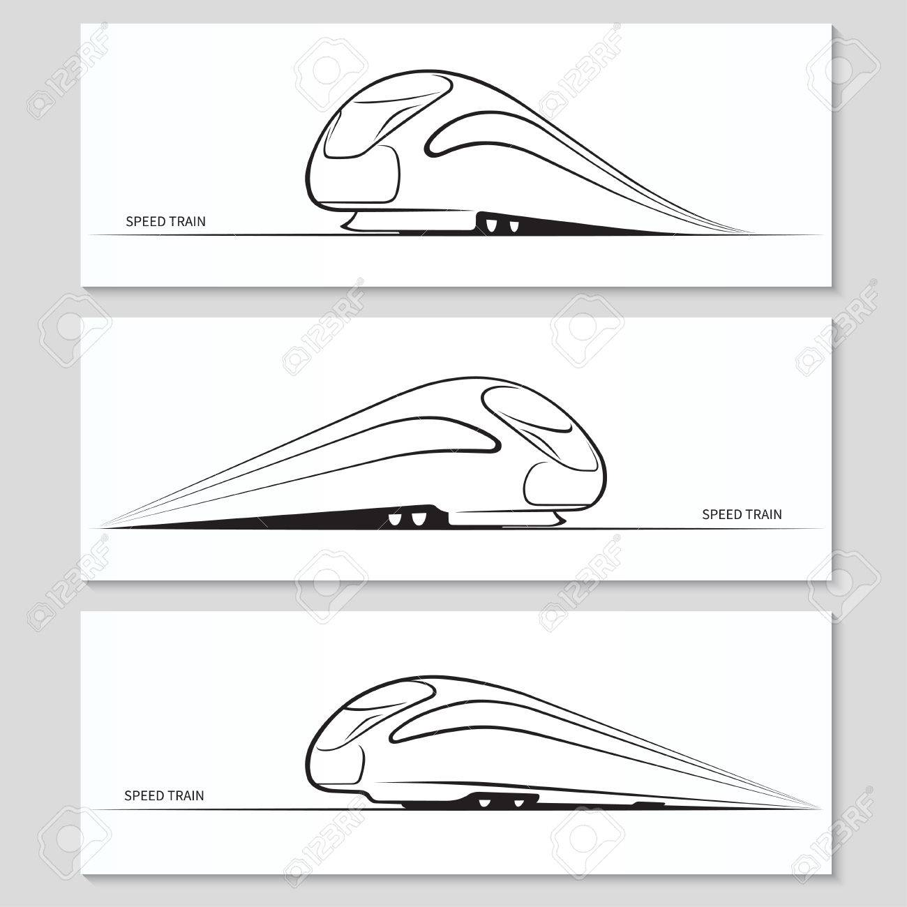 Set of modern speed train silhouettes and contours - 35758400