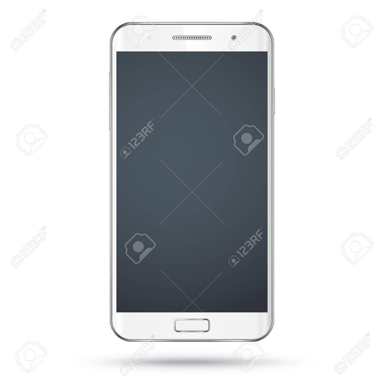 d3088758fa41e2 Modern detailed realistic white smartphone, mobile phone, cellphone vector  mockup. Blank screen.