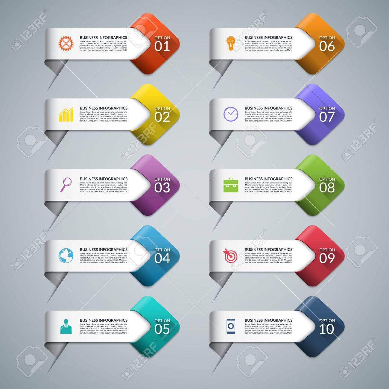 Set of infographic arrows with business marketing icons templates set of infographic arrows with business marketing icons templates for diagram graph chart accmission Image collections