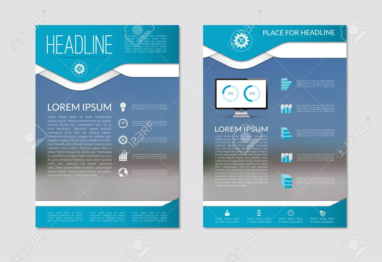 flyer brochure design layout template with blurred background