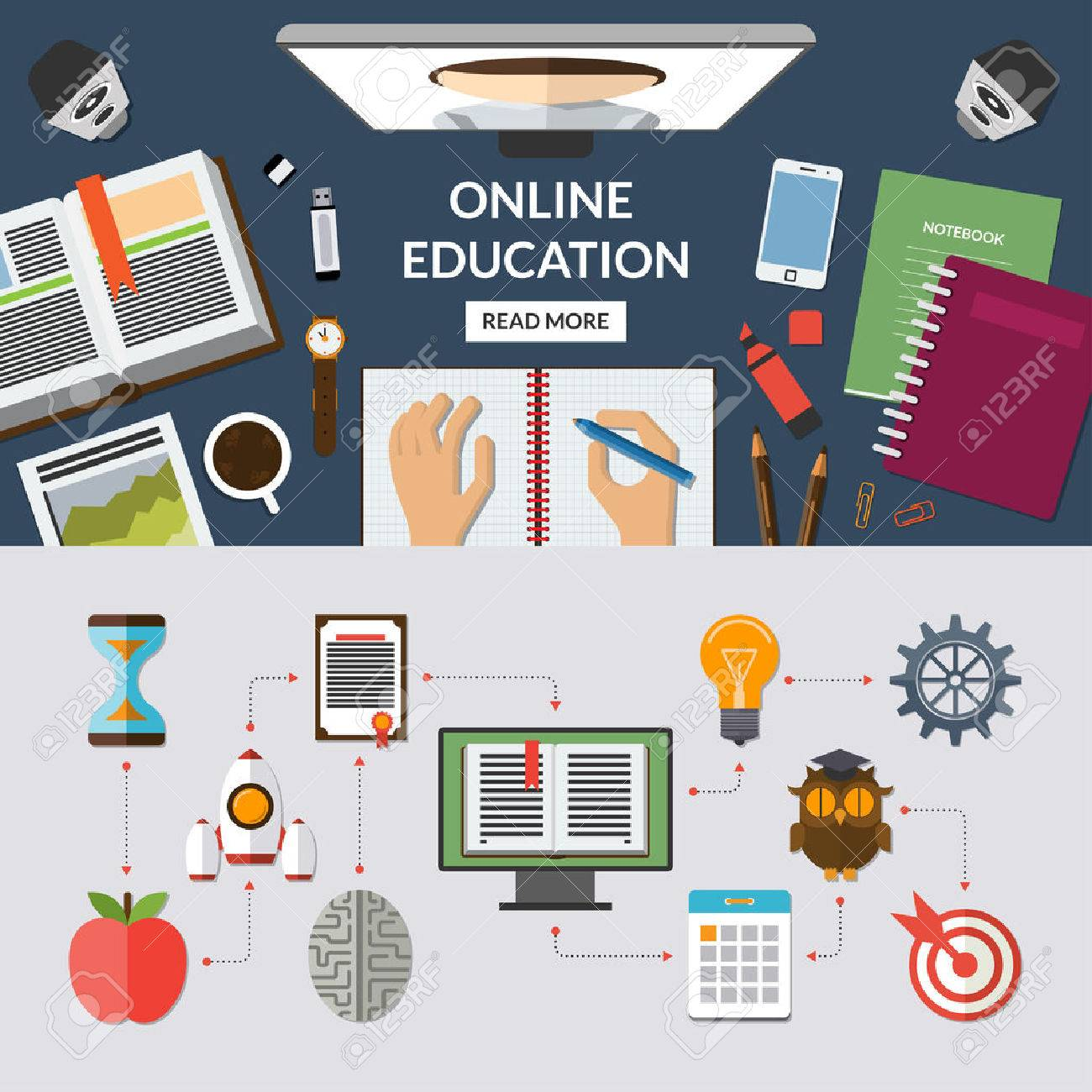 Online education, e learning, web courses flat concept background banner with education icons set. Top view on desktop. Study process. Vector illustration Stock Vector - 47651500