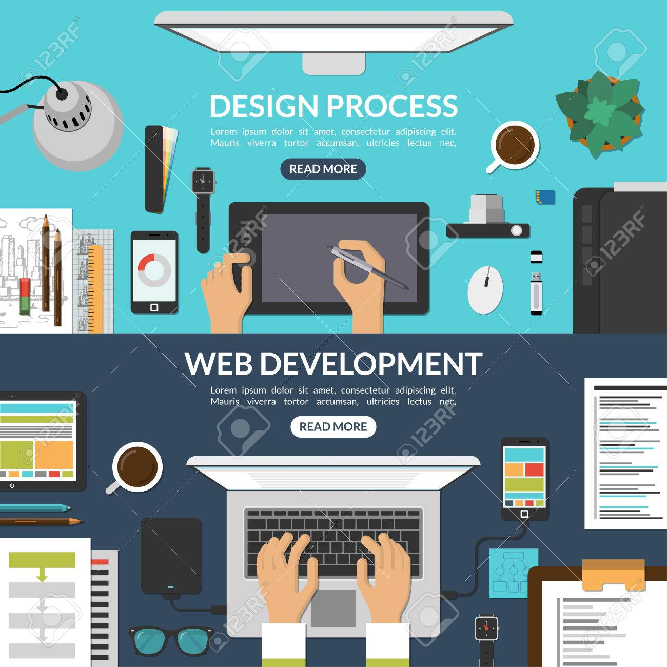 Web And Graphic Design Process And Web Development Concept Background Royalty Free Cliparts Vectors And Stock Illustration Image 47709990
