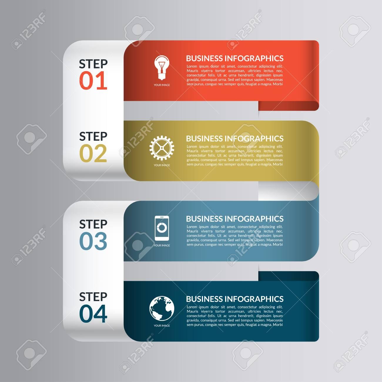 Plantilla De Diseño Moderno Para Infografía. Banner Numerado Para ...