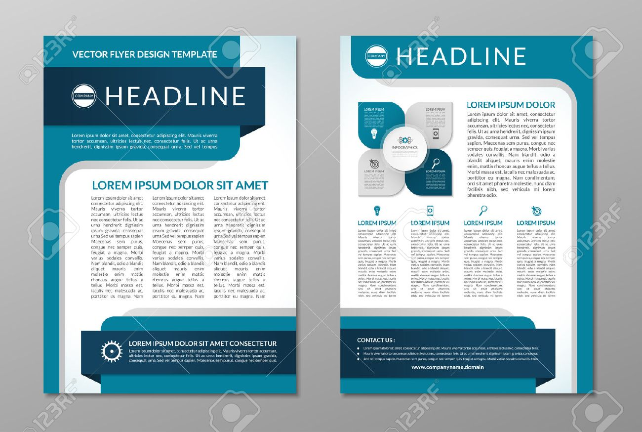 business brochure flyer design template front and back page in a4 size vector layout - Free Flyer Design Templates