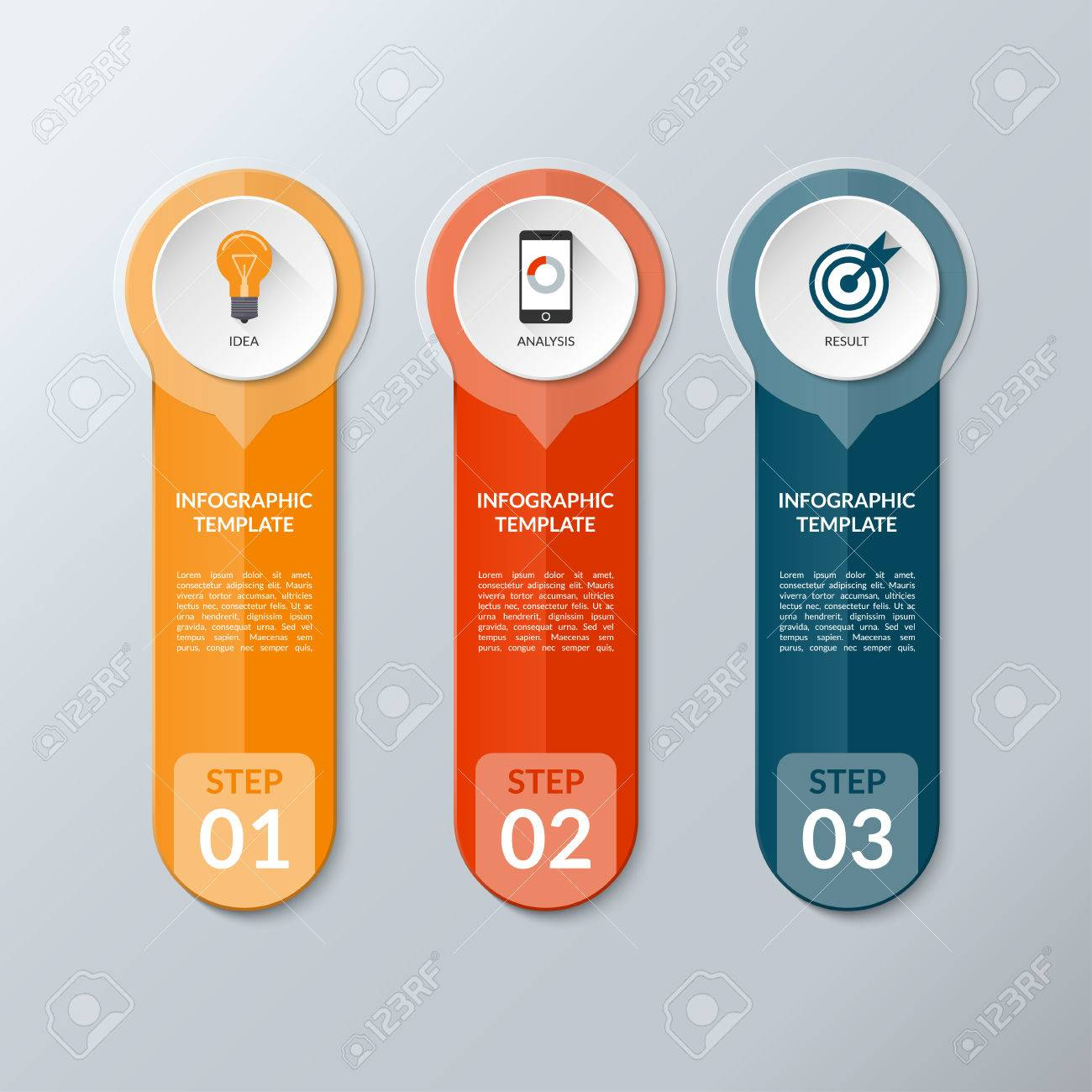 vector vector infographic layout template with 3 buttons steps parts options vertical banner with business icons and transparent design elements