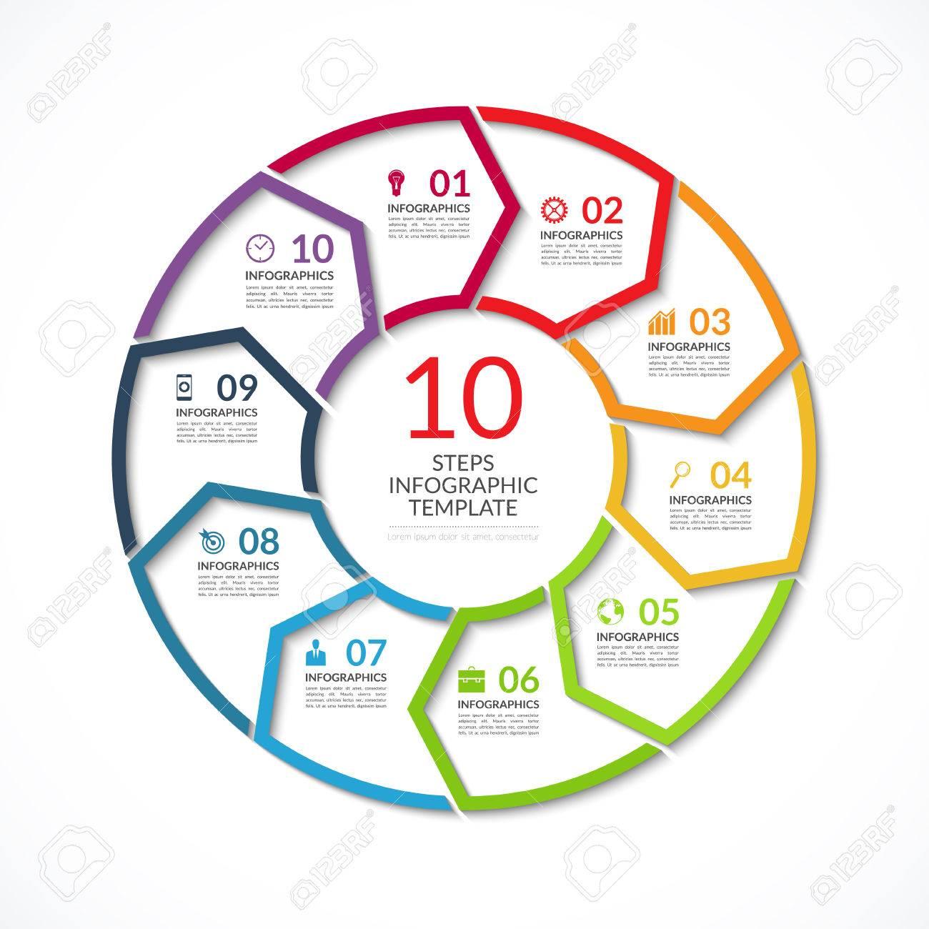 Infografik Kreisschablone. Einfache Vektor-Konzept Banner Mit 10 ...