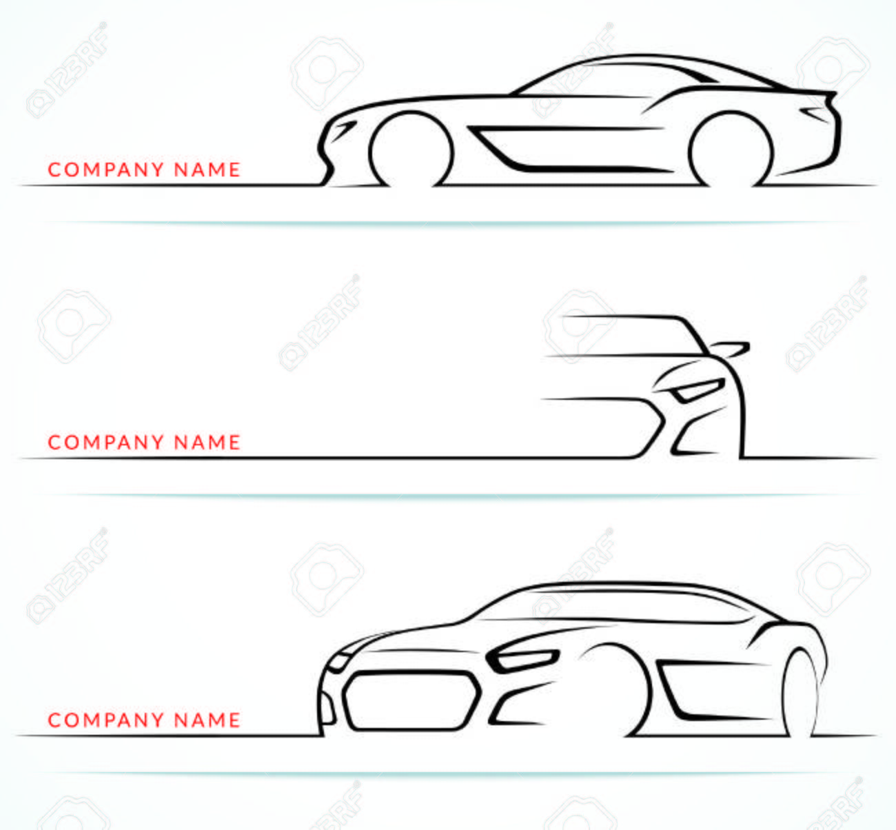 Set of sports car silhouettes isolated on white background. Front, rear, side views. Vector illustration - 56719758