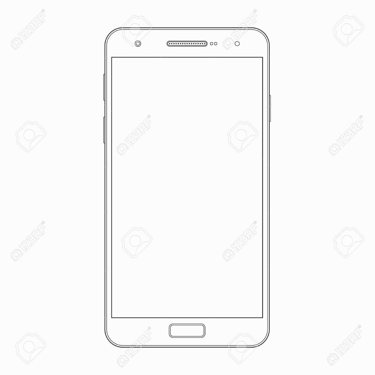 Smartphone Outline Template Vector Wireframe Contour Of Modern