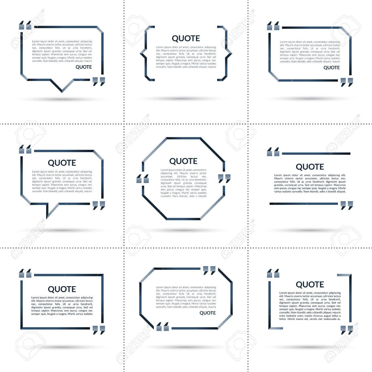 Set Of Vector Quote Templates. Quote Speech Bubble, Quote Frame ...
