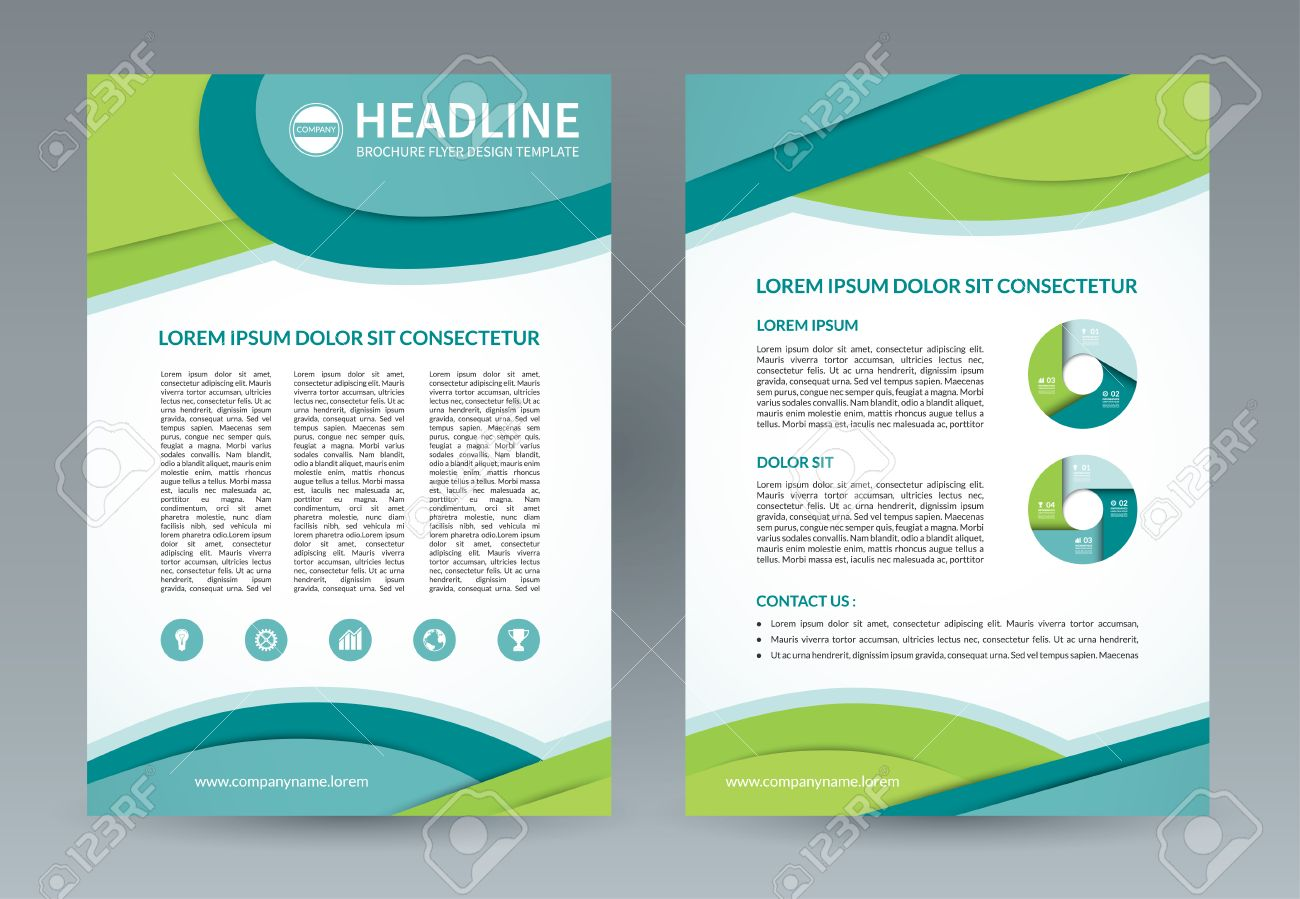 Brochure Flyer Design Template A4 Size Vector Layout With Icons
