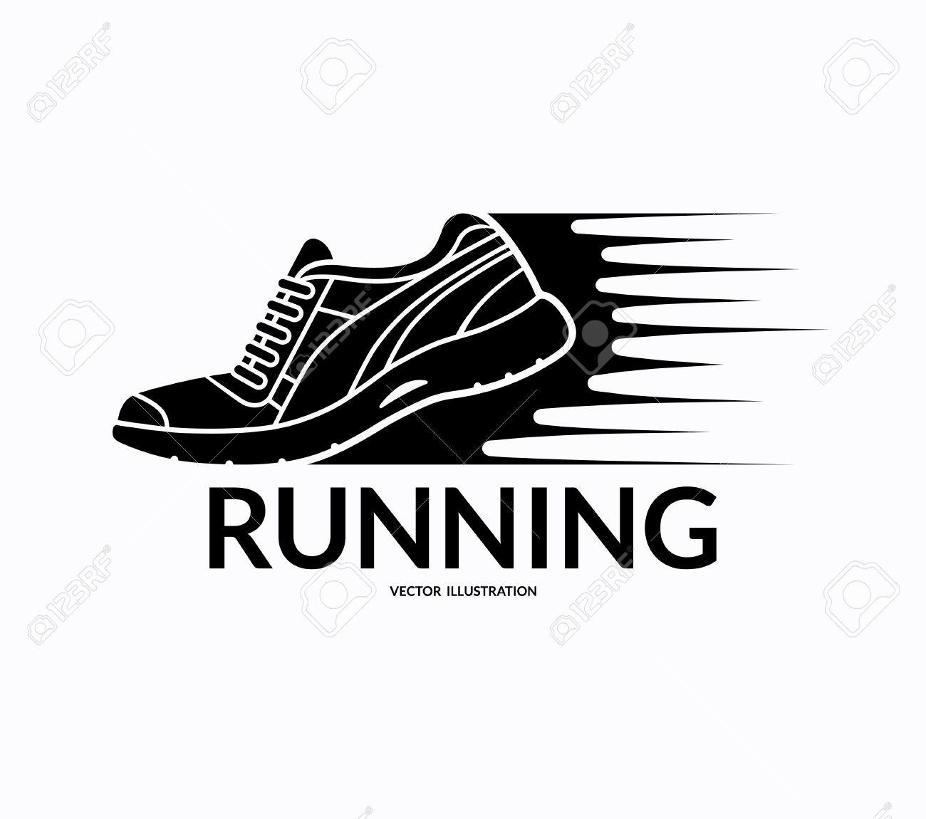 Running shoe icon. Sports shoe symbol. Training shoe logo. Fitness shoe sign.
