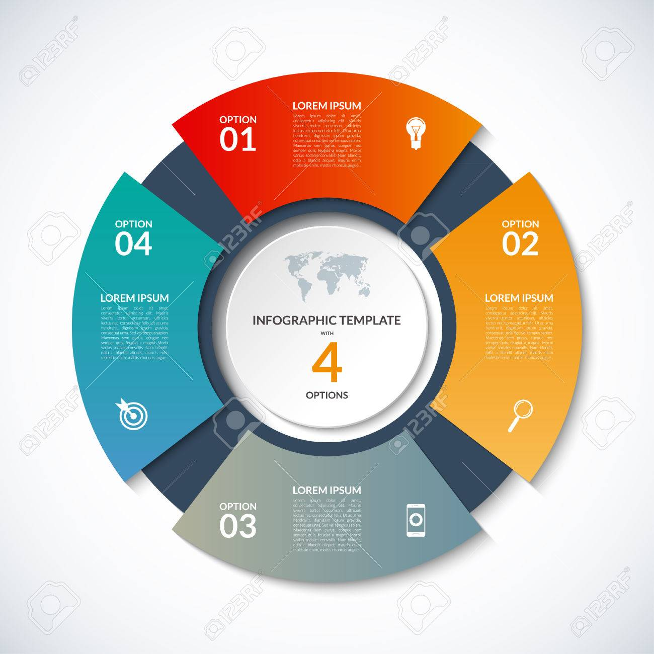 Circle template for infographics business concept with 4 options circle template for infographics business concept with 4 options steps parts segments ccuart Images