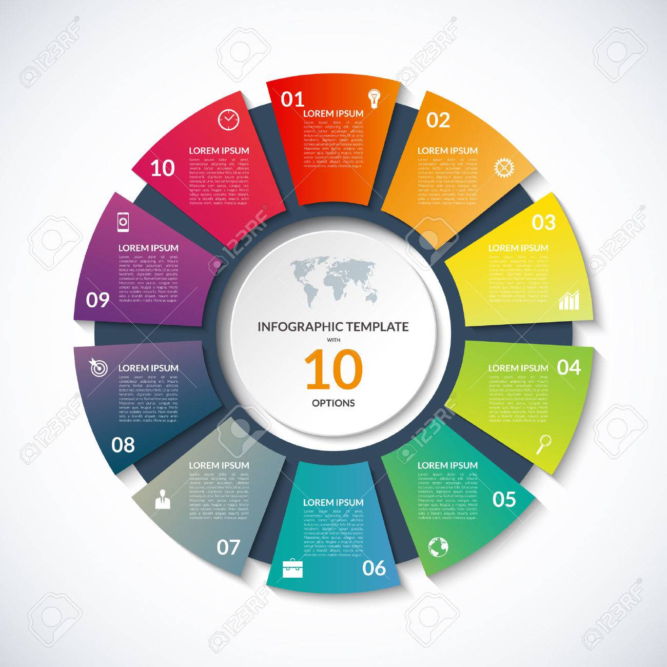 circle template for infographics. Business concept with 10 options, steps, parts, segments. Banner for cycling diagram, round chart, pie chart, business presentation, annual report, web design - 56946175