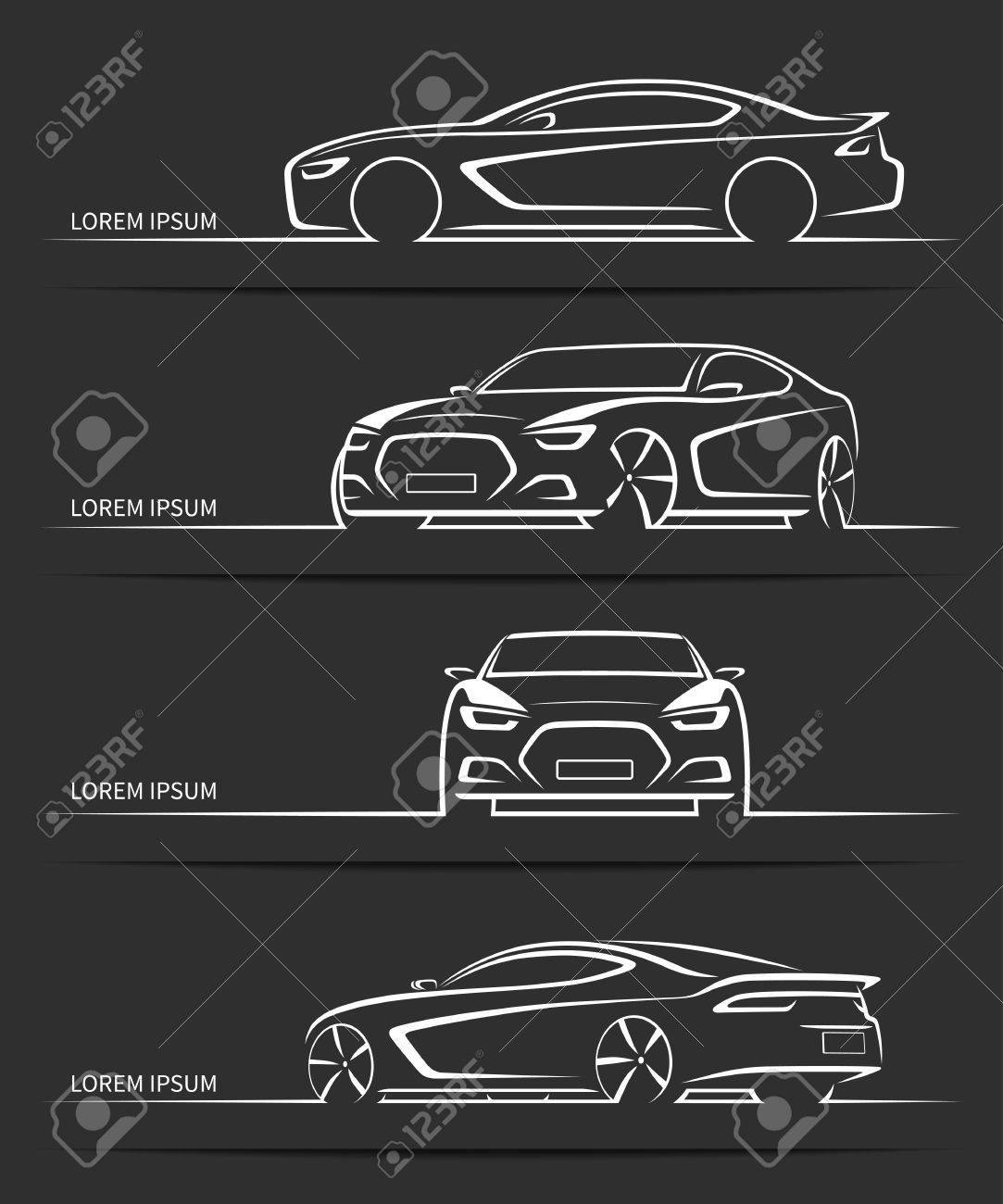 Set Of Sports Car Silhouettes Modern Abstract Luxury Automobile