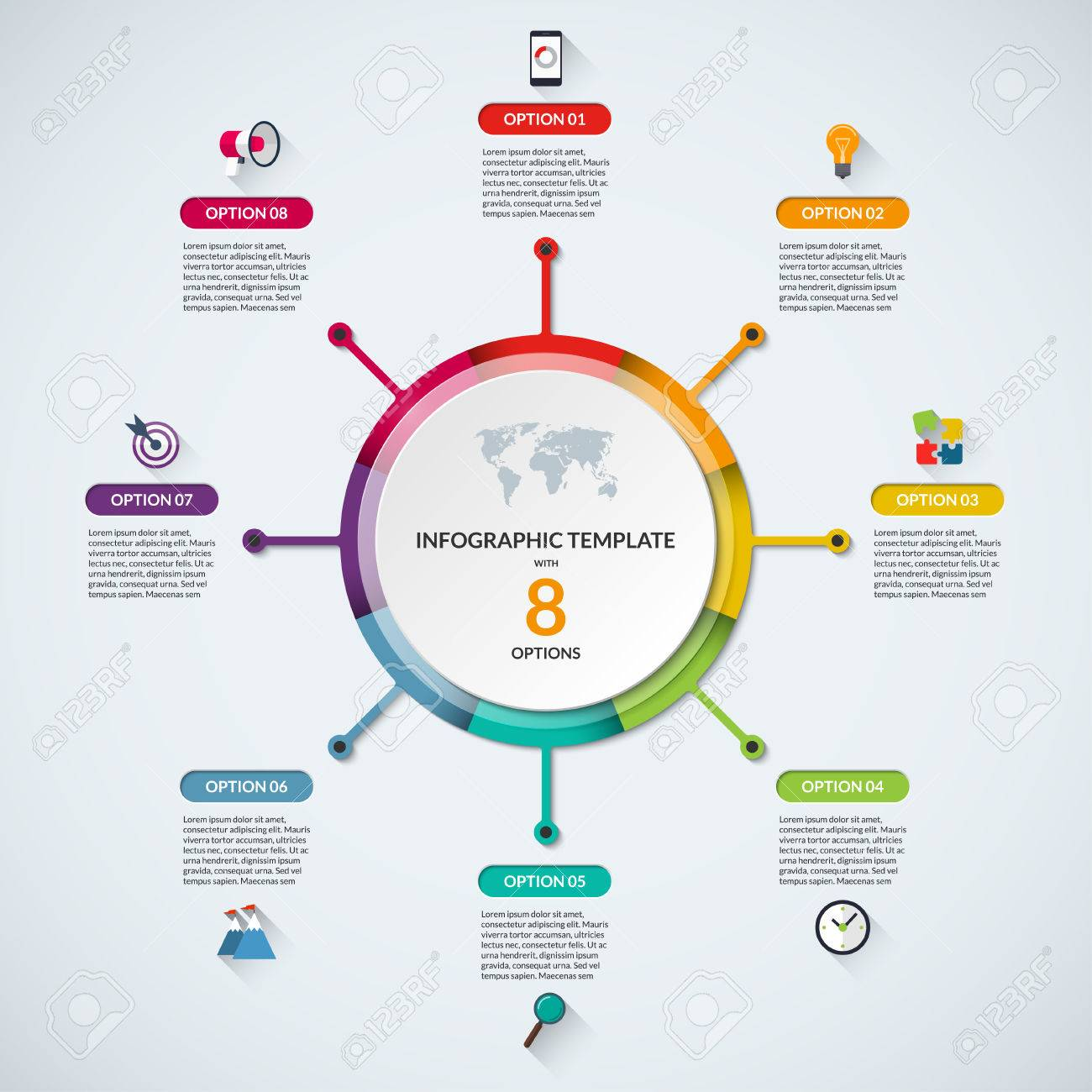 infographic circle diagram template business concept with 8