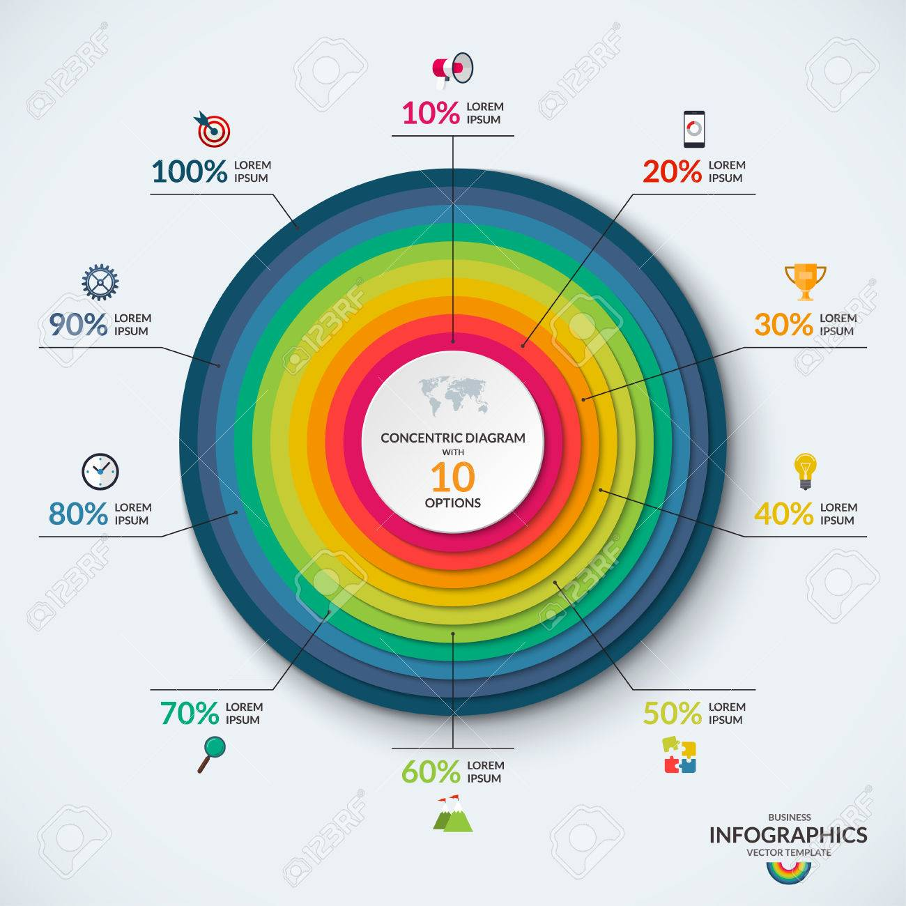 Infographic diagram template with concentric circles with 10 infographic diagram template with concentric circles with 10 options can be used for web ccuart Gallery