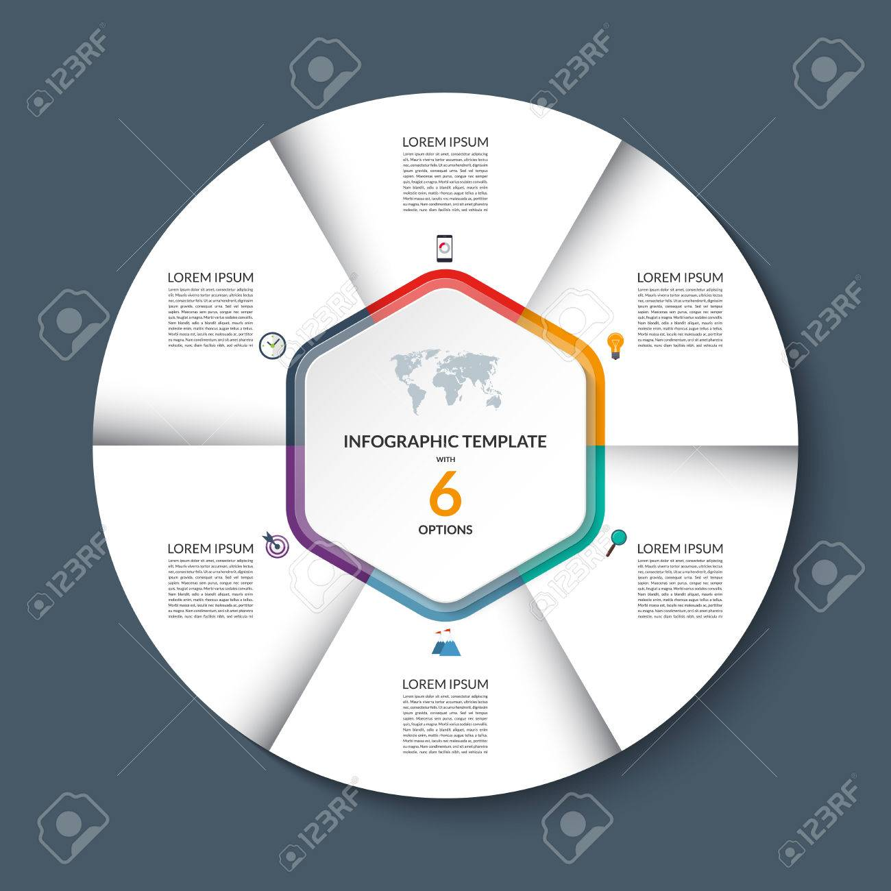 Vector infographic circle template white round banner with 6 steps white round banner with 6 steps or options business concept with the set of marketing icons and design elements can be used for cycle diagram pie chart ccuart Image collections