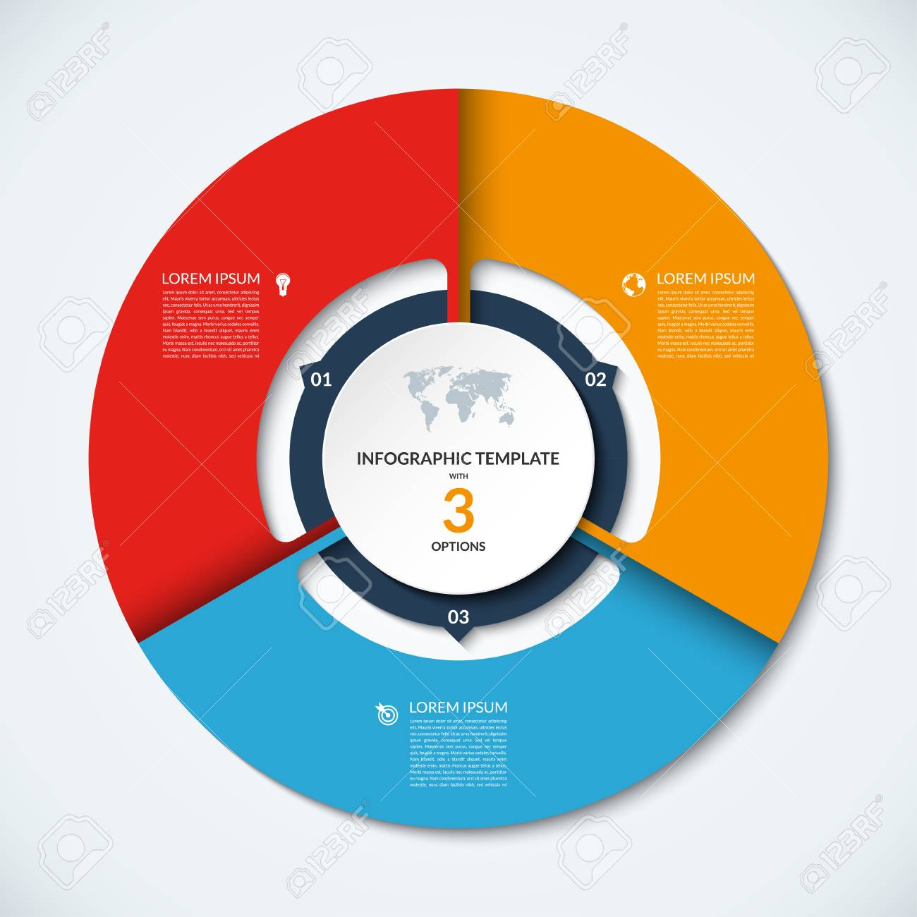 circle infographic template vector layout with 3 options can be used for cycle diagram