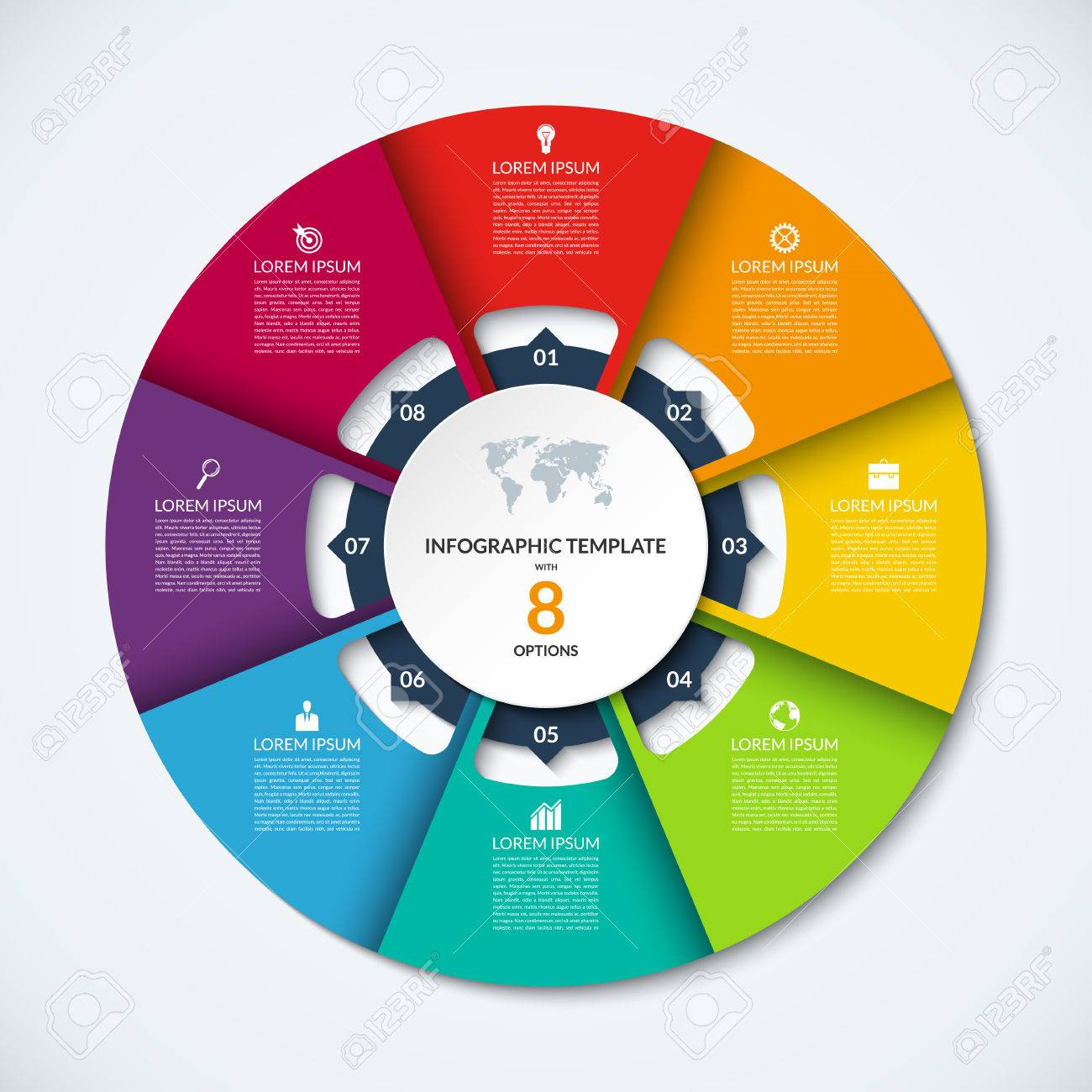 step by step infographics  circle infographic template  vector layout  with 8 options  can be used for cycle diagram