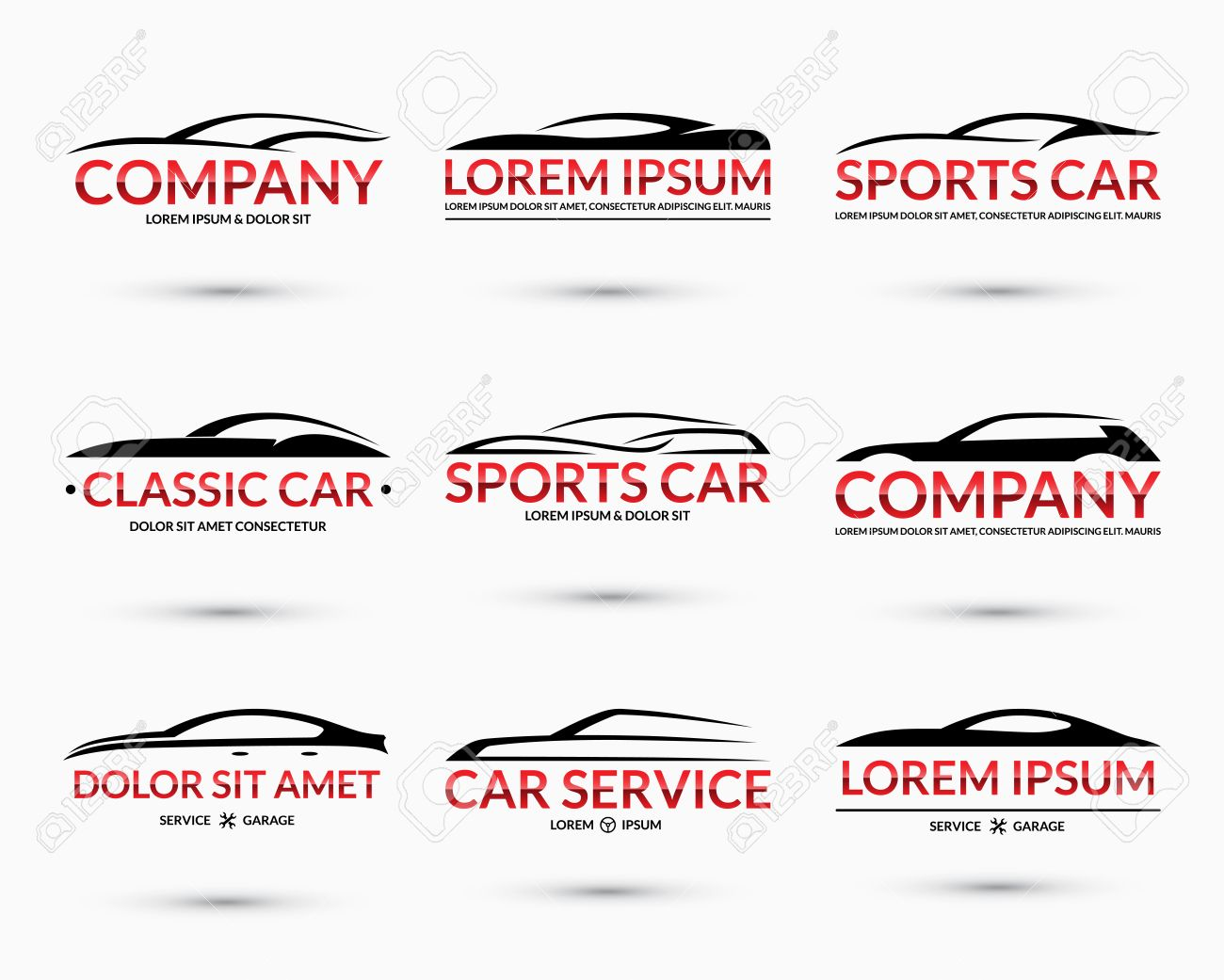 Set Of Modern Car Logo Design Templates Abstract Car Silhouettes