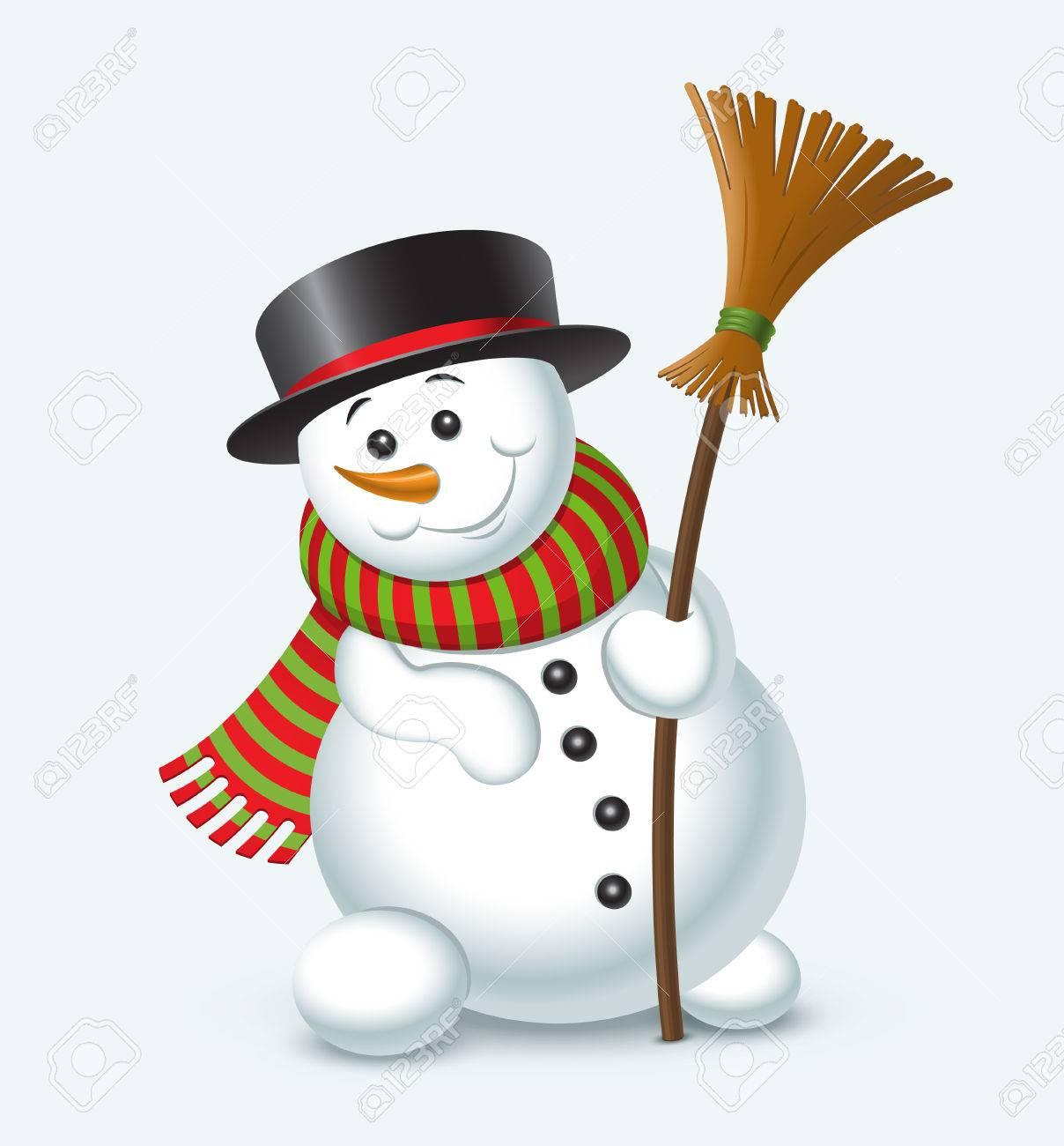 Nette Weihnachtsschneemann Auf Weißem Hintergrund. Illustration ...