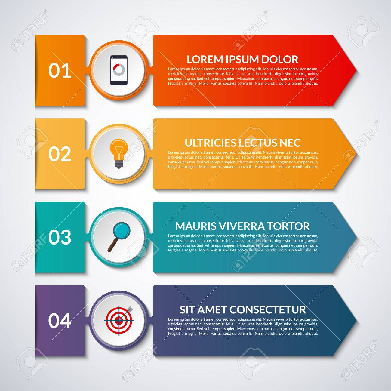 Infographic options banner with arrows and circle design elements. Vector template with 4 steps, parts. - 73417241