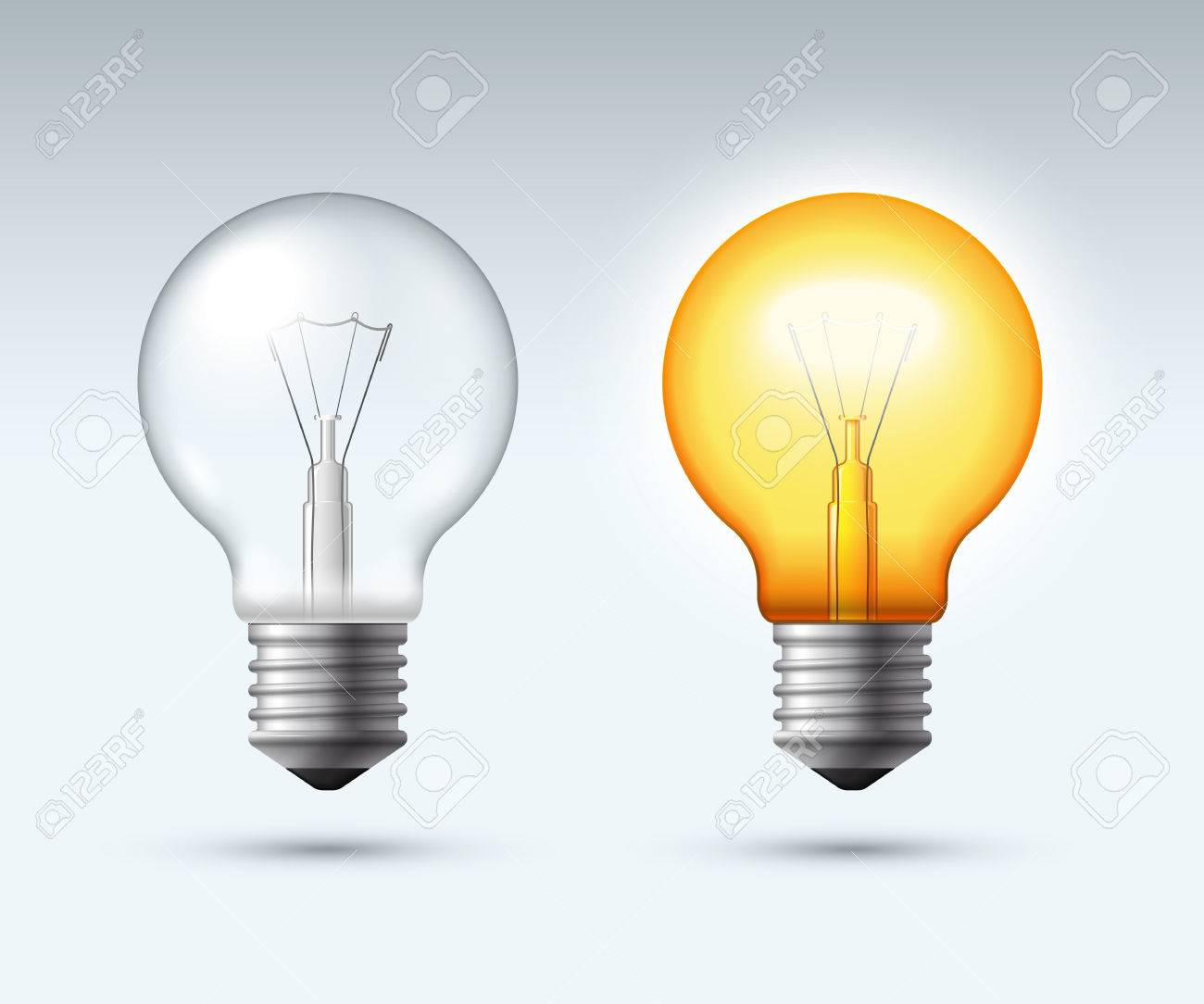 Light Bulb Switched On And Off Vector Illustration Royalty Free