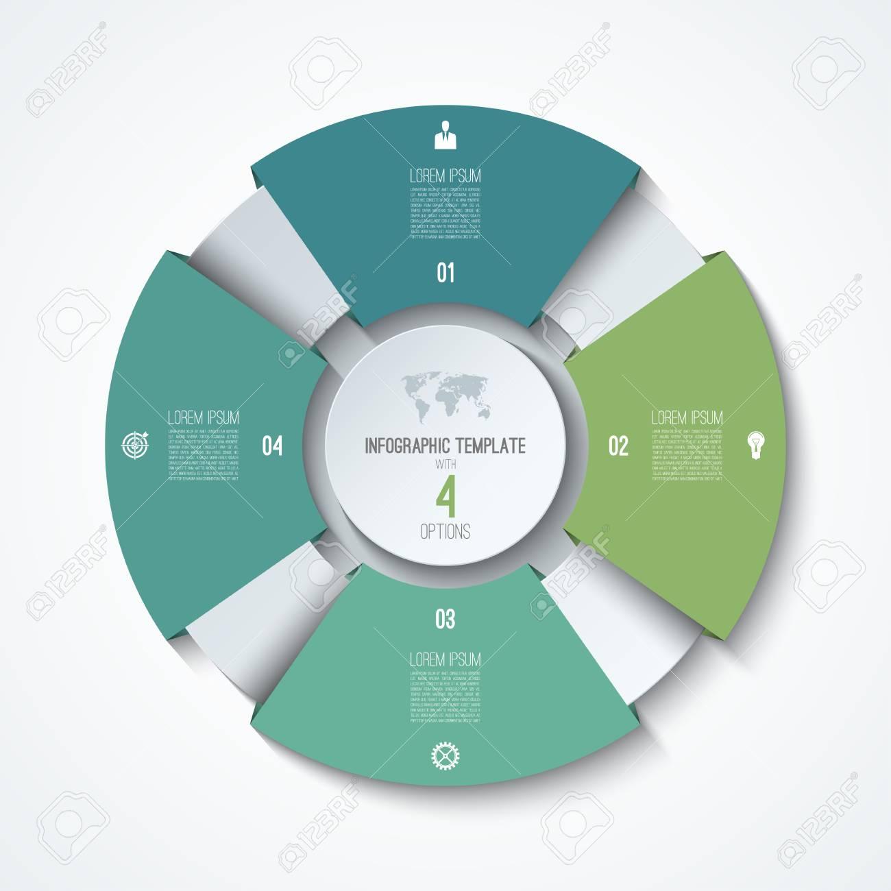 Plantilla Infográfica De Círculo. Rueda De Proceso. Vector Gráfico ...
