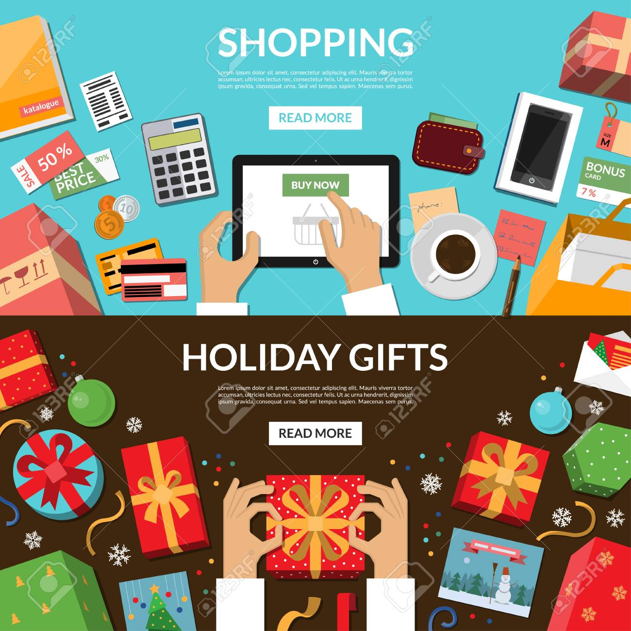 Online Shopping Preparing For Holidays Wrapping Of Christmas