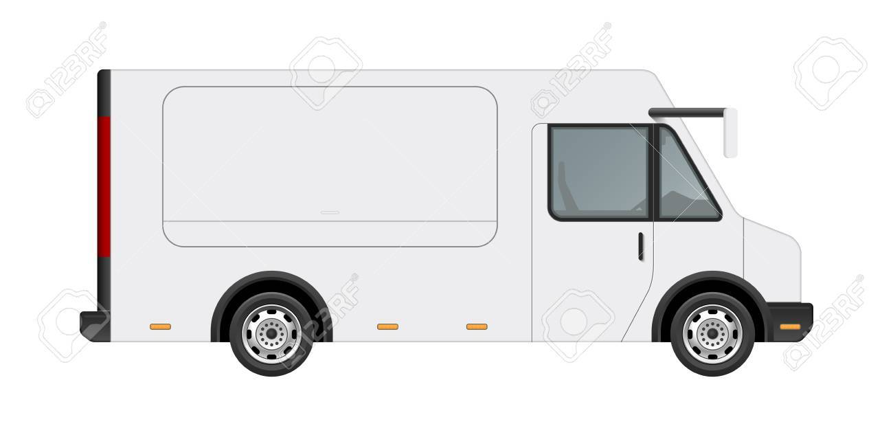 white food truck vector mock up template side view of realistic
