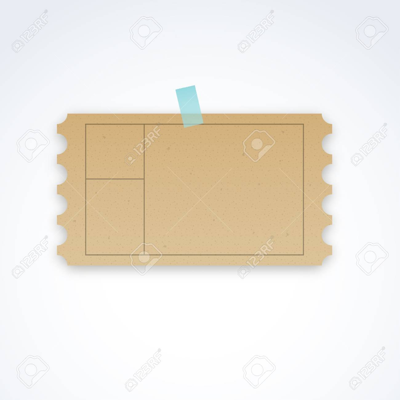 vector blank ticket template with cardboard texture and perforated