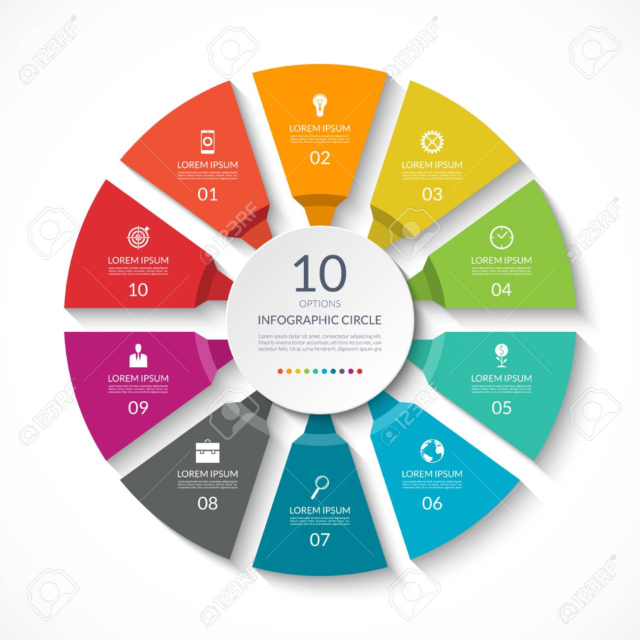 infographic circle. process chart. vector diagram with 10 options