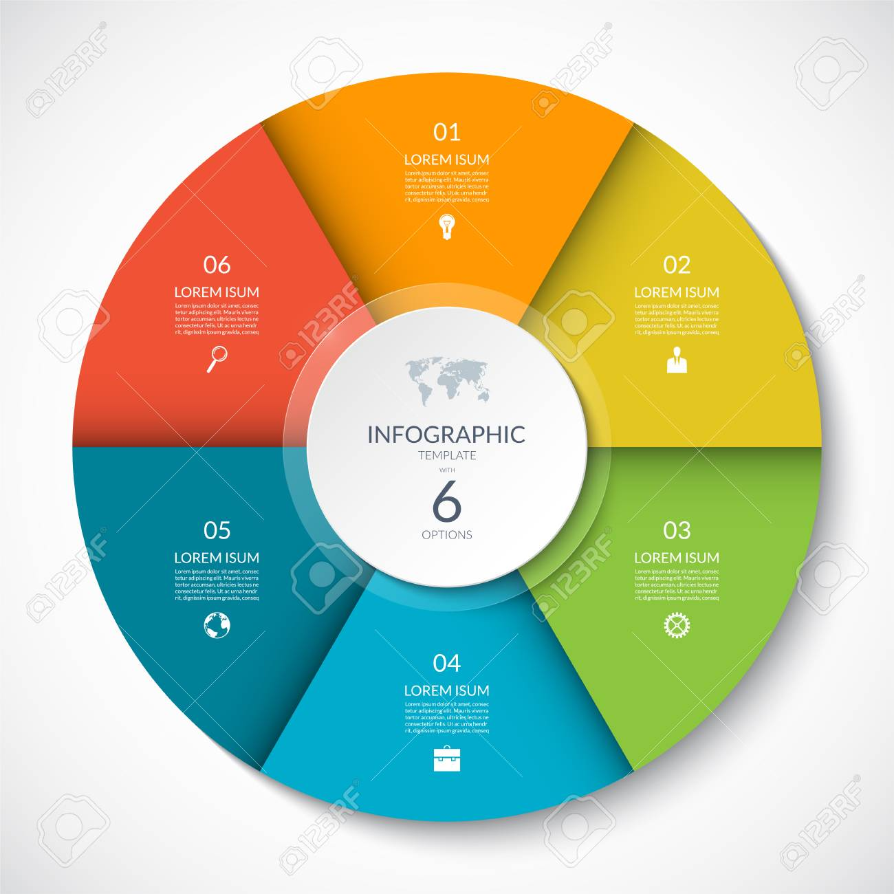 Vector infographic circle. Cycle diagram with 6 options. Can be used for chart, graph, report, presentation, web design. - 110031882