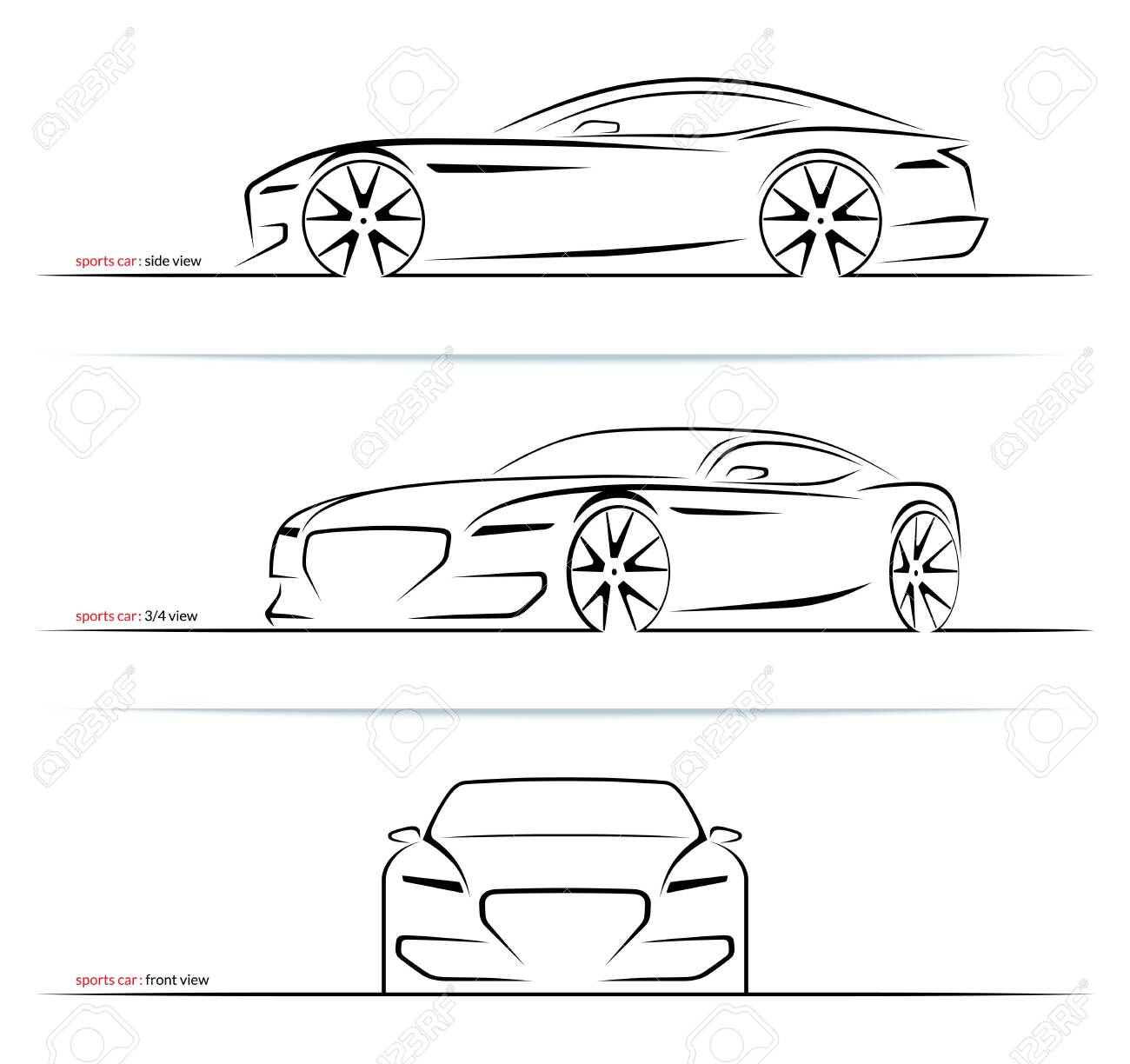 Set of sports car silhouettes isolated on white background. Side, three-quarter and front view. Vector illustration - 120927320