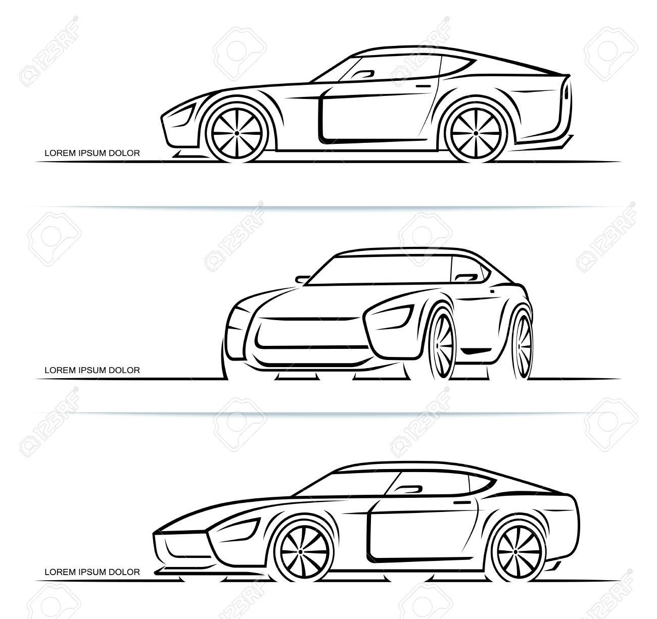 Set of sports car silhouettes outlines contours isolated on white background. Vector illustration - 120927324