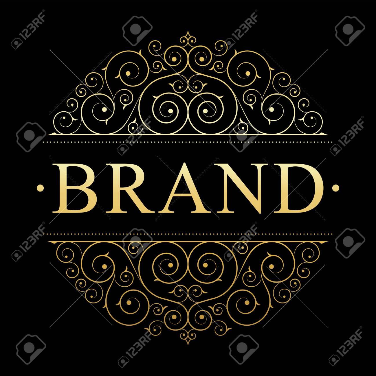 Retro vintage luxury logo template with floral elegant calligraphic elements. - 149583808