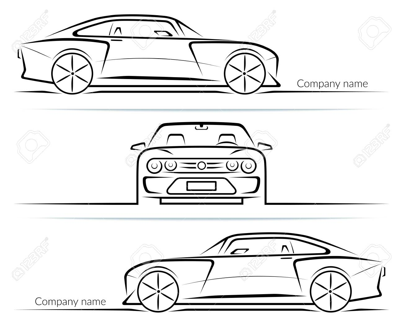 Set of sports car silhouettes outlines contours isolated on white background. Vector illustration - 151579185