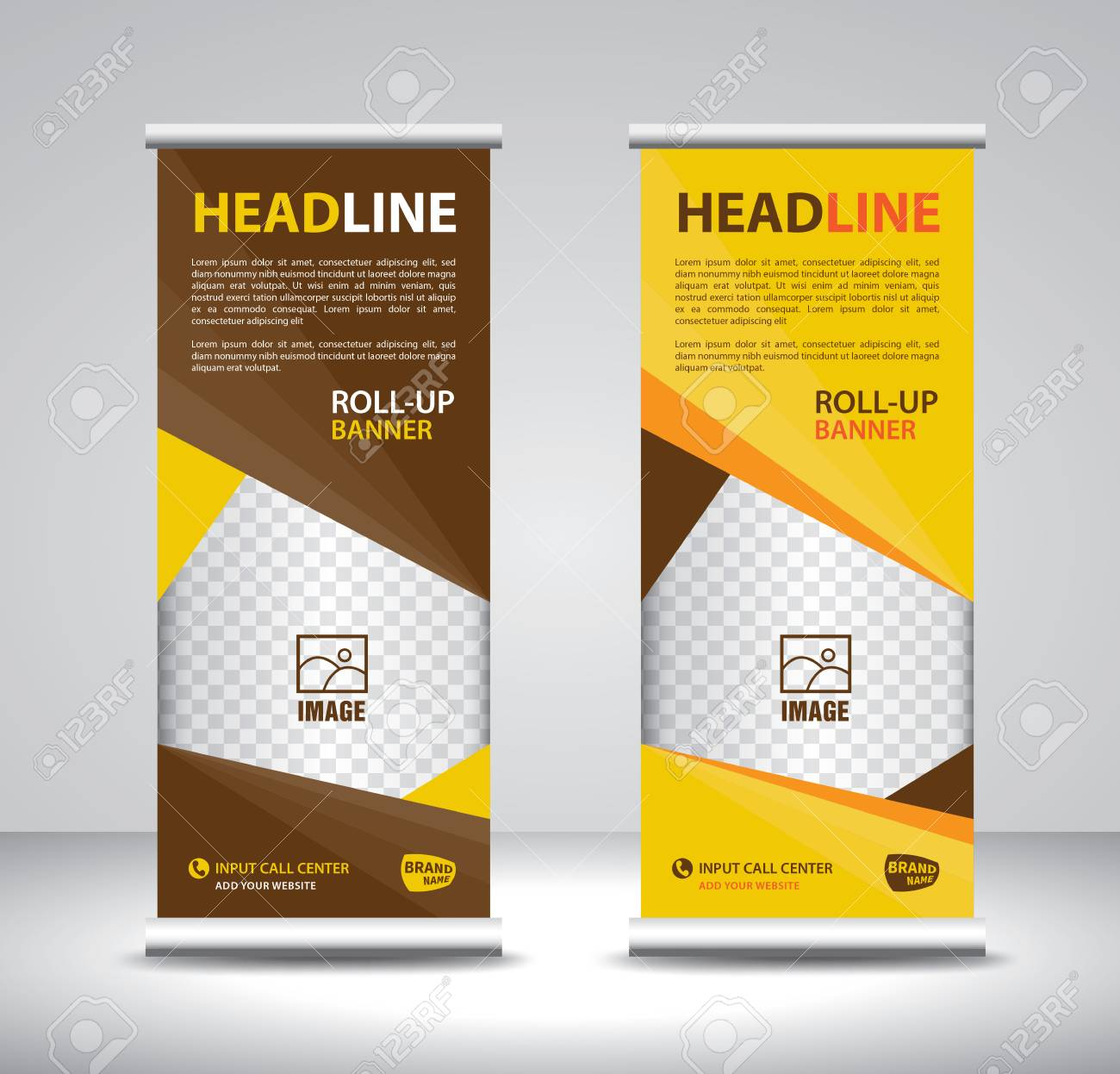 Roll Up Banner Template Vector Banner Stand Exhibition Design