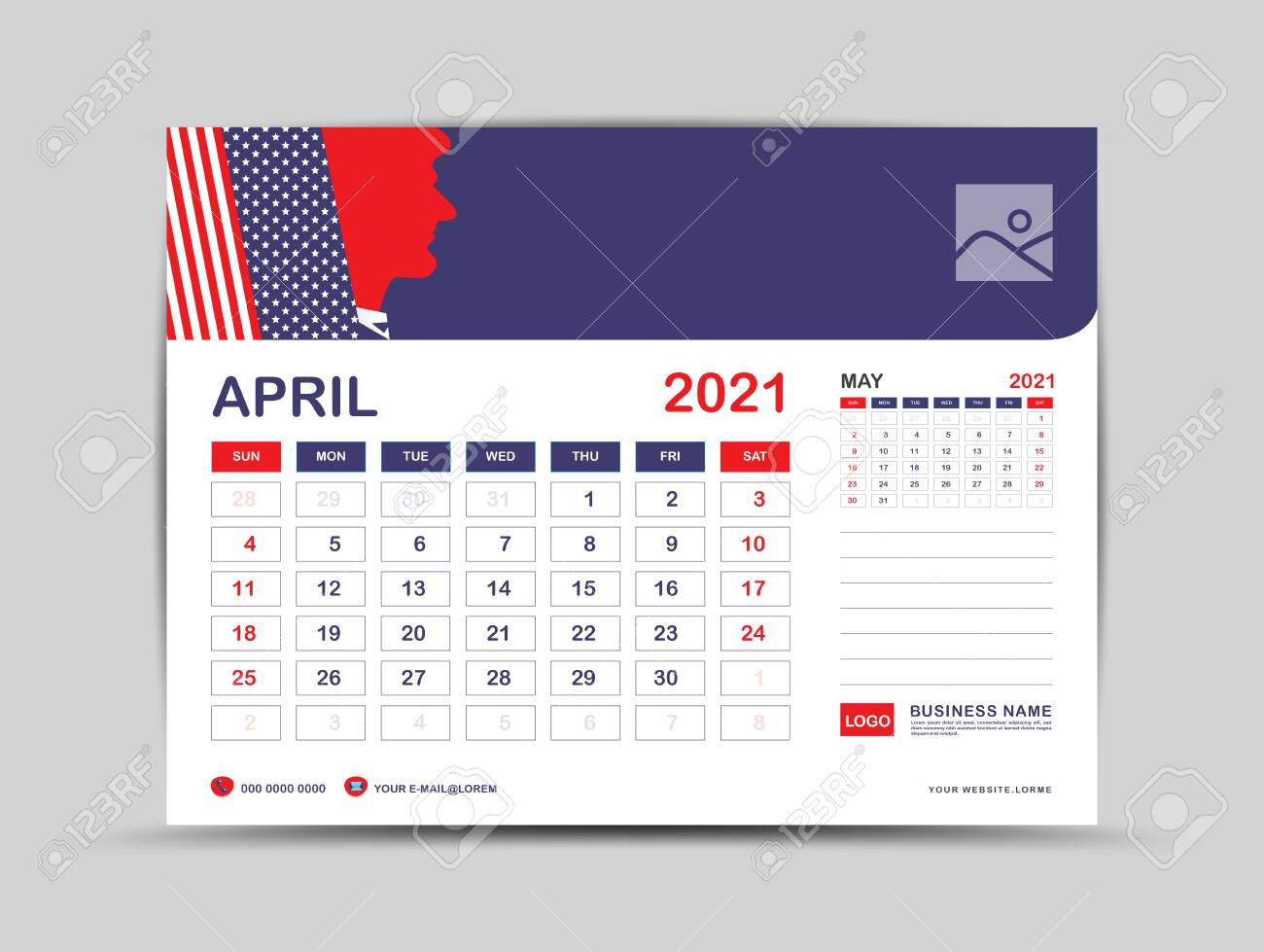 Photo Desk Calendar 2021 Desk Calendar 2021 Template, April Page Vector For Calendar 2021