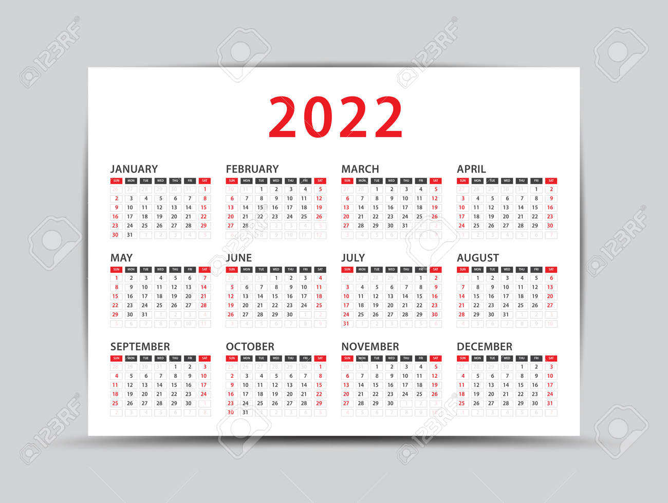 Wall Calendar 2022.2022 Yearly Calendar 12 Months Yearly Calendar Set In 2022 Royalty Free Cliparts Vectors And Stock Illustration Image 160899415